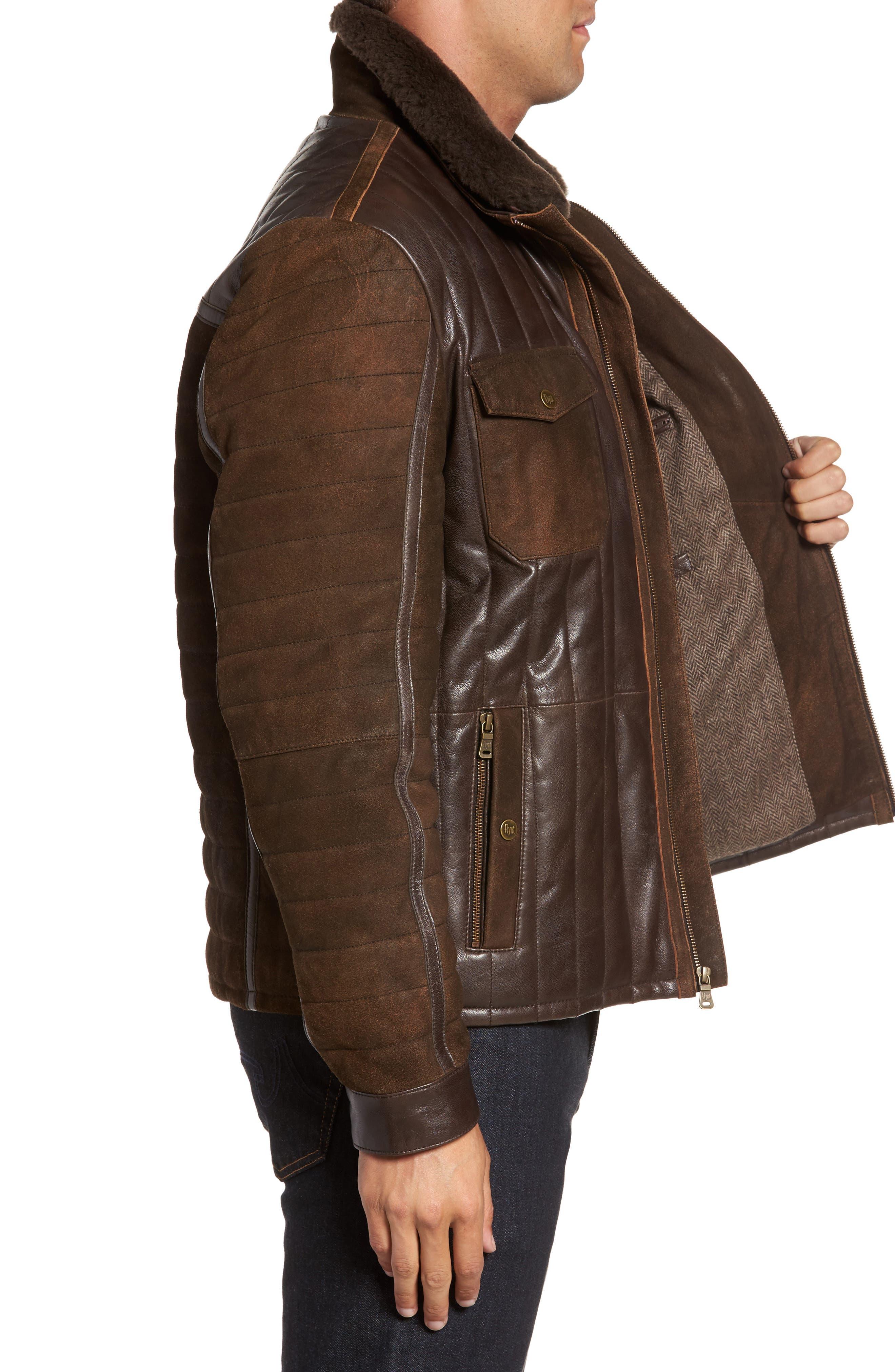Alternate Image 3  - FLYNT Genuine Shearling Trim Leather Bomber Jacket