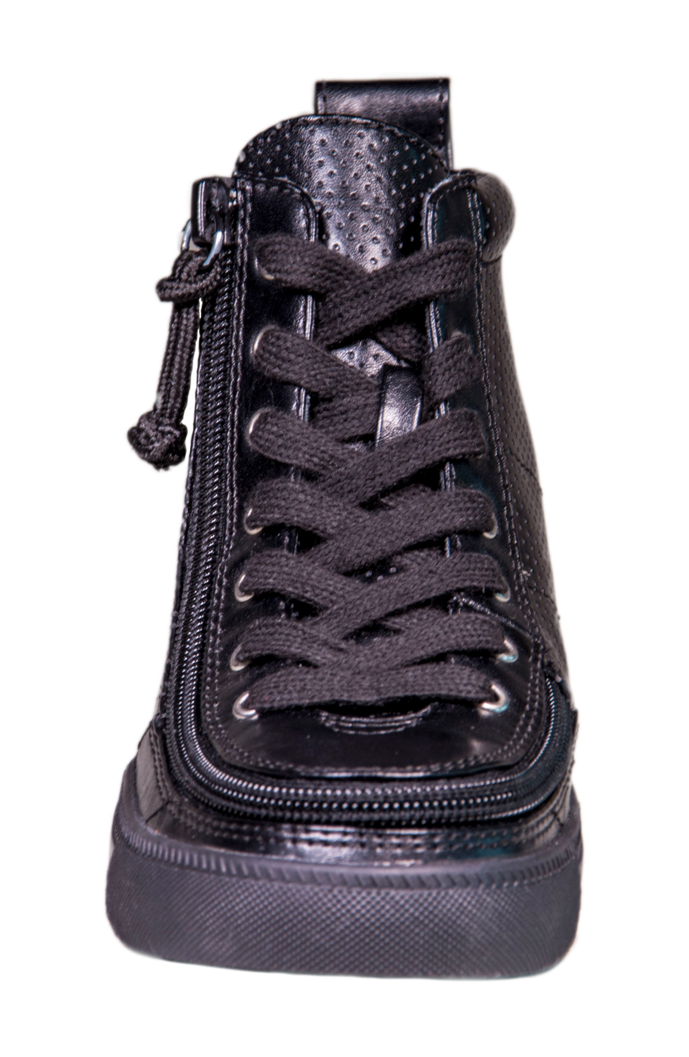 Zip Around Perforated High Top Sneaker,                             Alternate thumbnail 3, color,                             Black Perforated