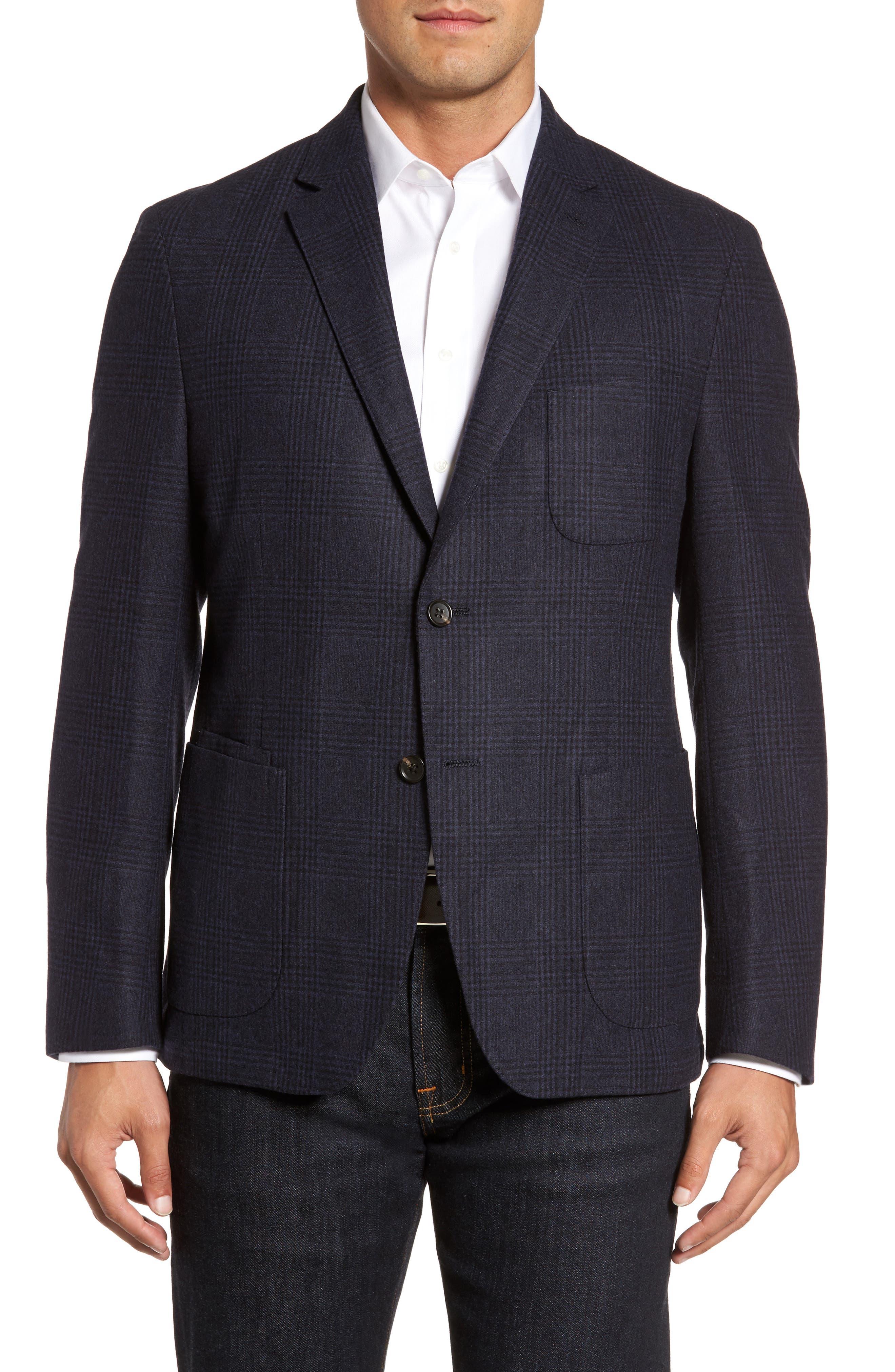 Main Image - FLYNT Classic Fit Plaid Merino Wool Jersey Sport Coat
