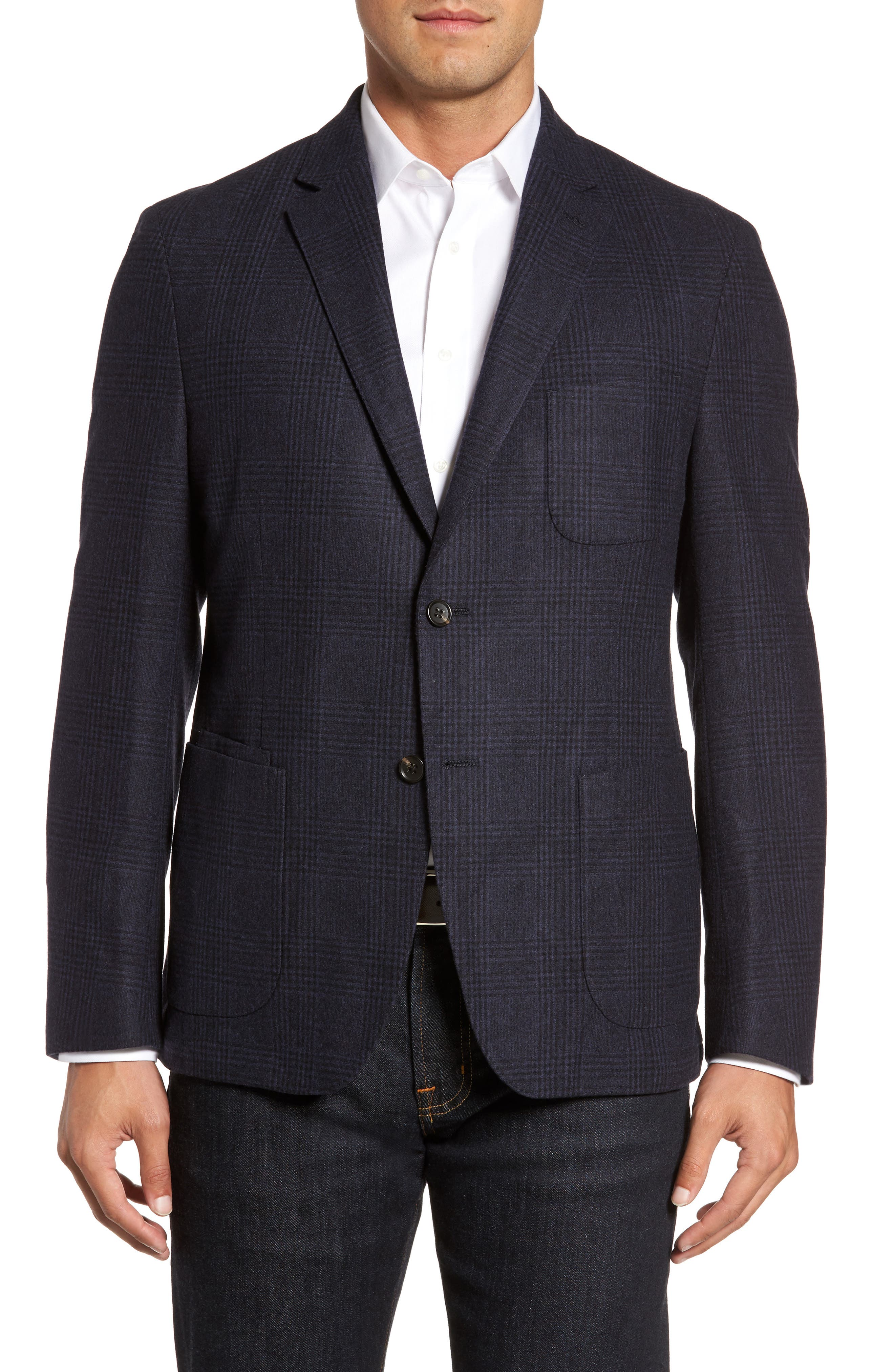Classic Fit Plaid Merino Wool Jersey Sport Coat,                         Main,                         color, Navy