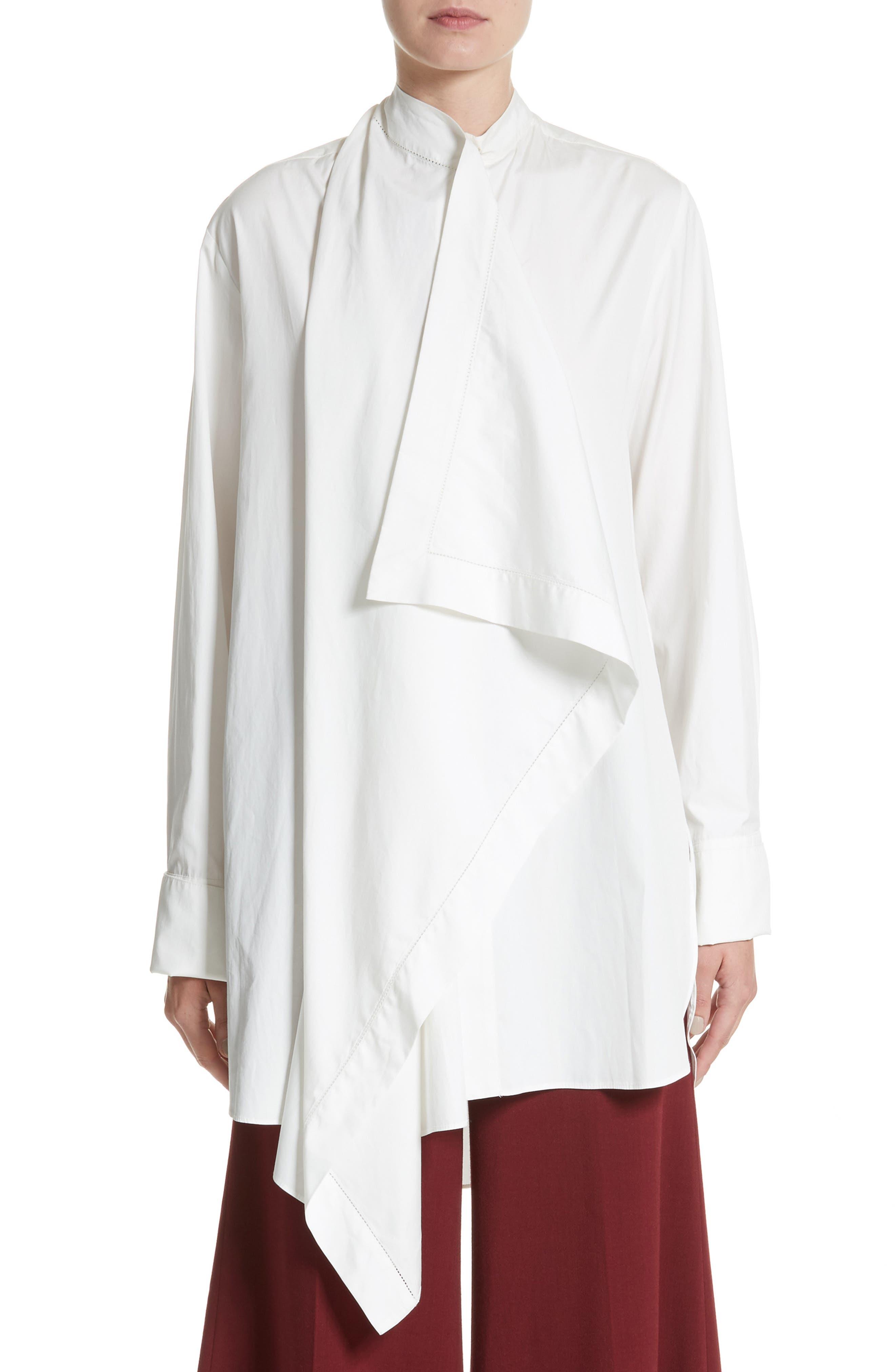 Akano Drape Front Twill Top,                         Main,                         color, Ivory