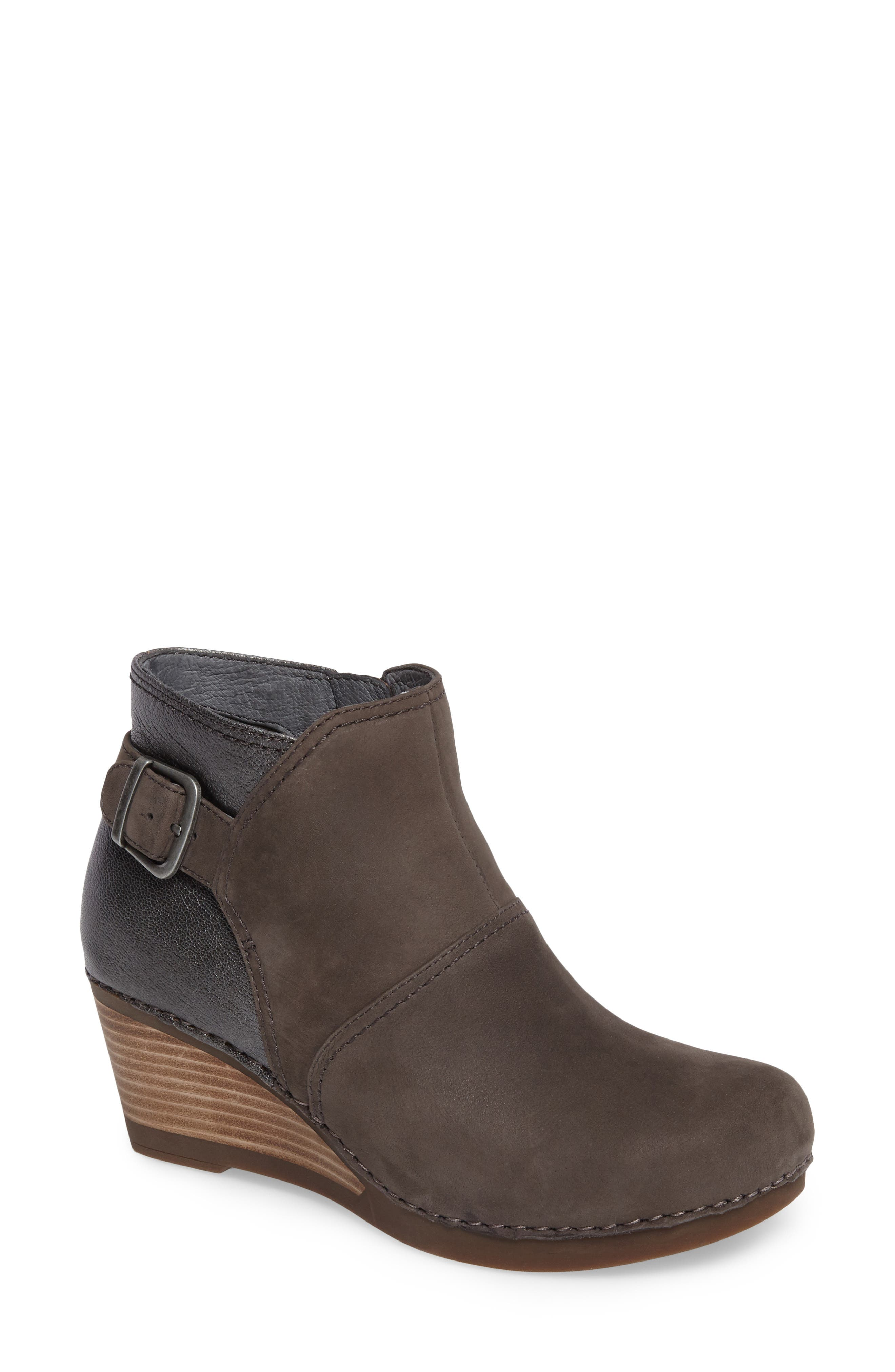 'Shirley' Wedge Bootie,                             Main thumbnail 1, color,                             Grey Nubuck Leather