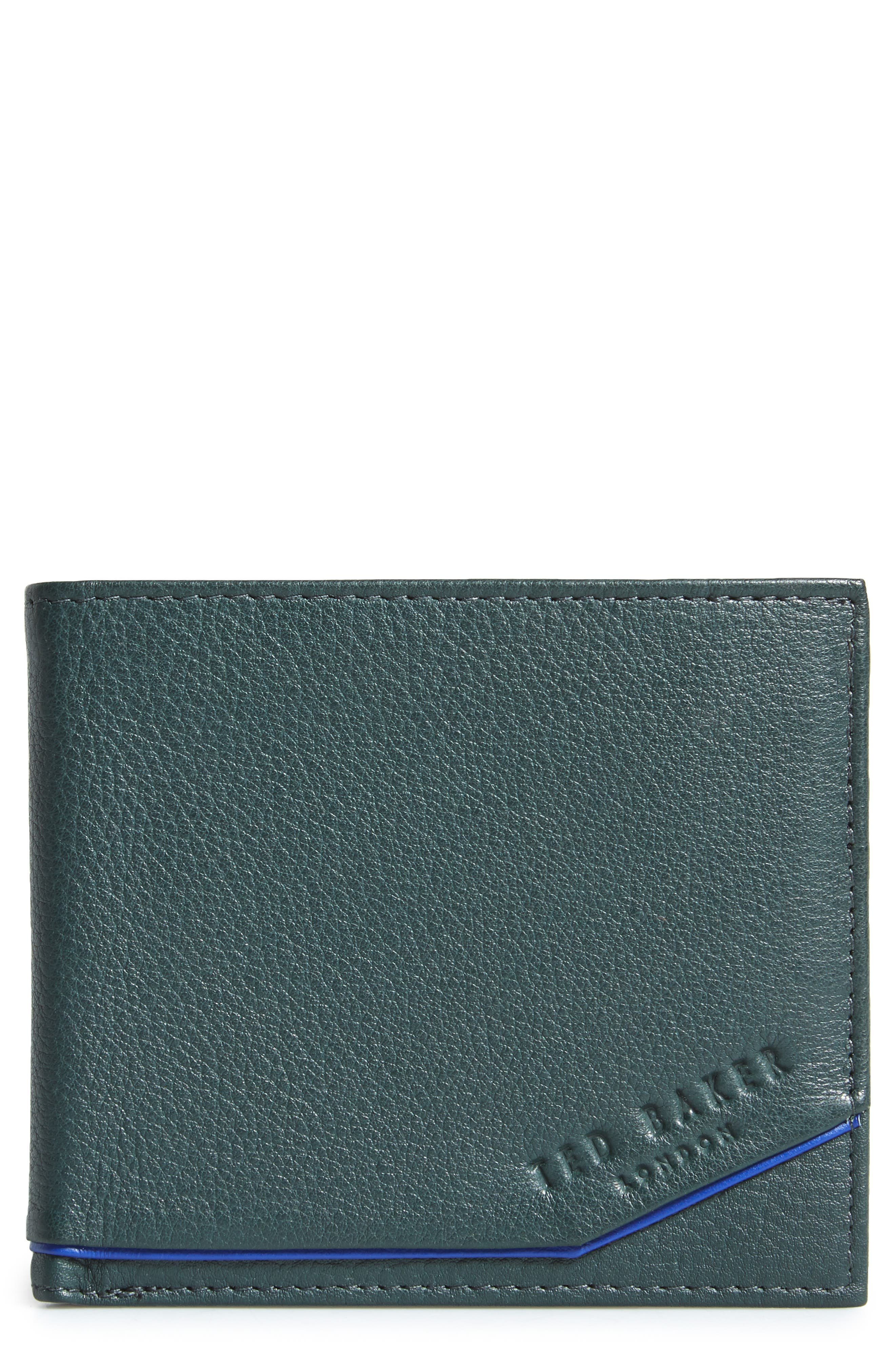 Persia Leather Wallet,                             Main thumbnail 1, color,                             Dark Green