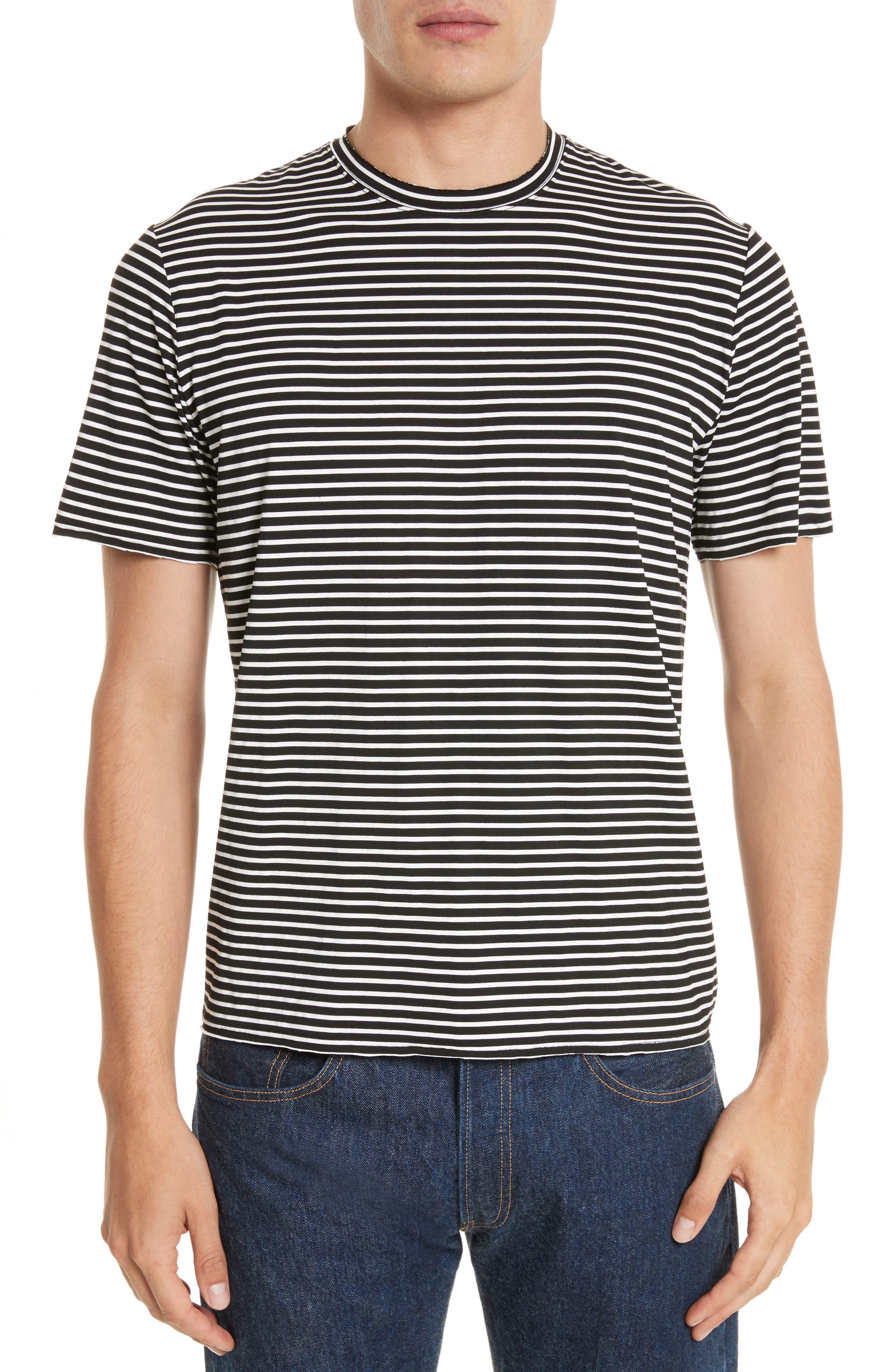 OVADIA & SONS Raw Edge Stripe T-Shirt
