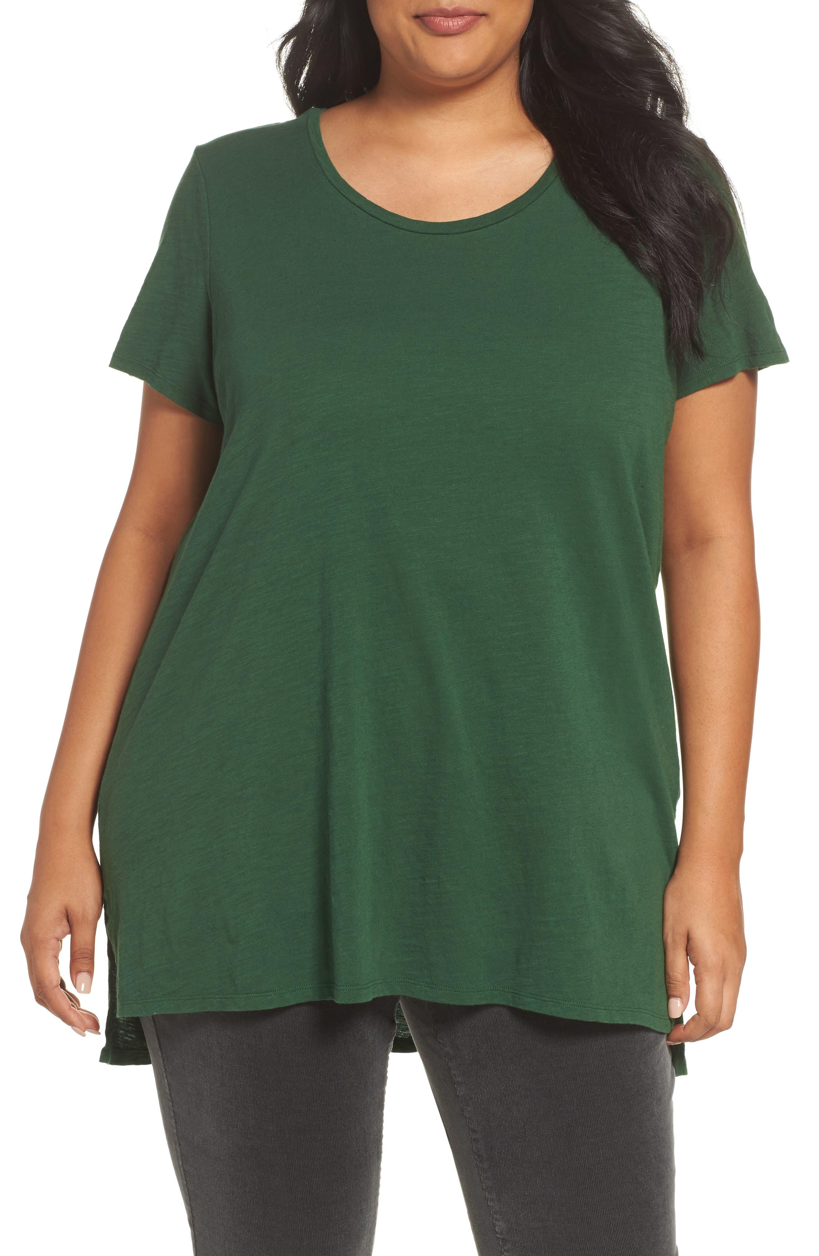 Eileen Fisher U-Neck Organic Cotton Tee (Plus Size)