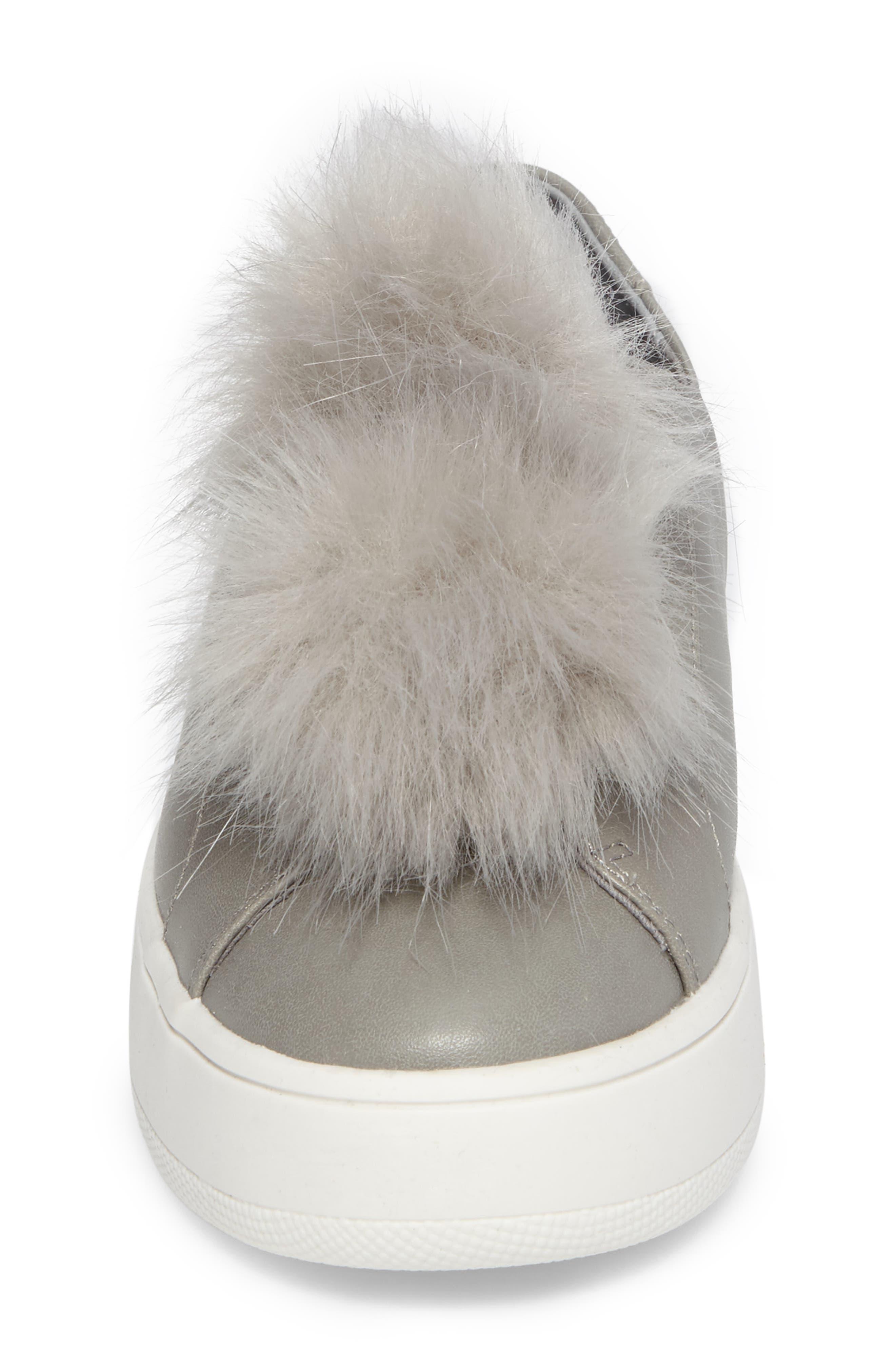 Breeze Faux Fur Pom Sneaker,                             Alternate thumbnail 4, color,                             Grey