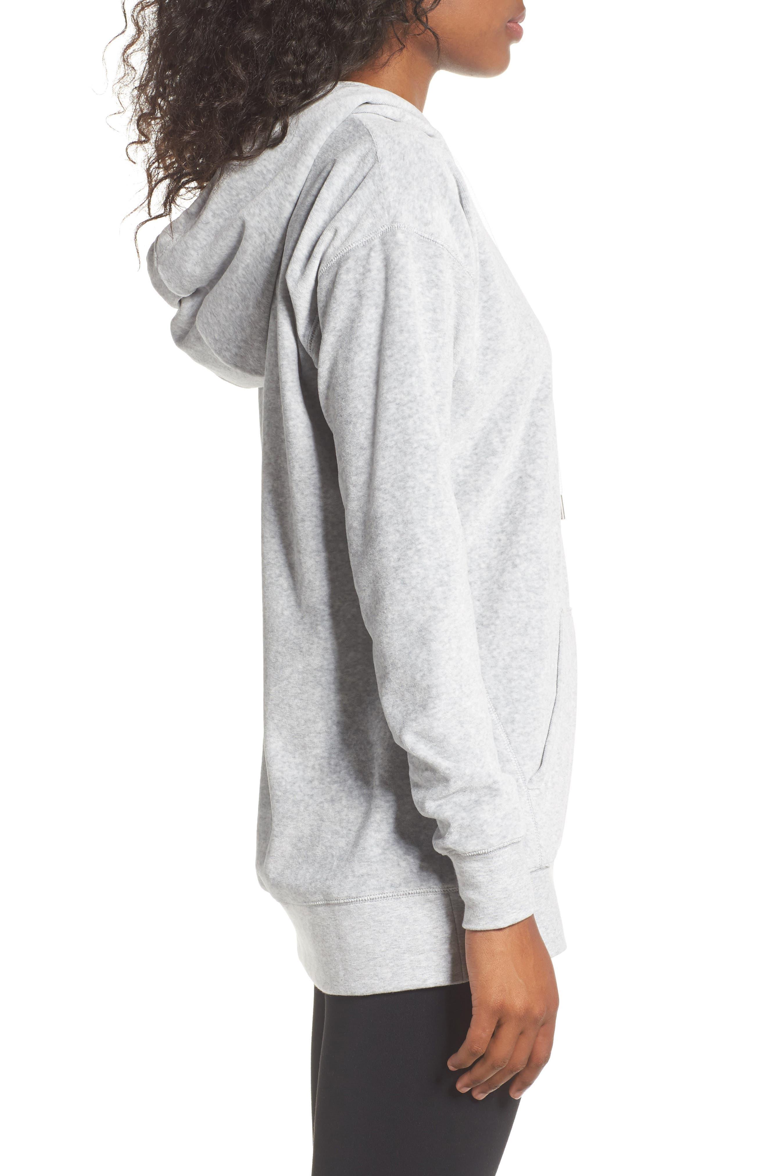 Hashtag Velour Tunic Hoodie,                             Alternate thumbnail 3, color,                             Grey Light Heather