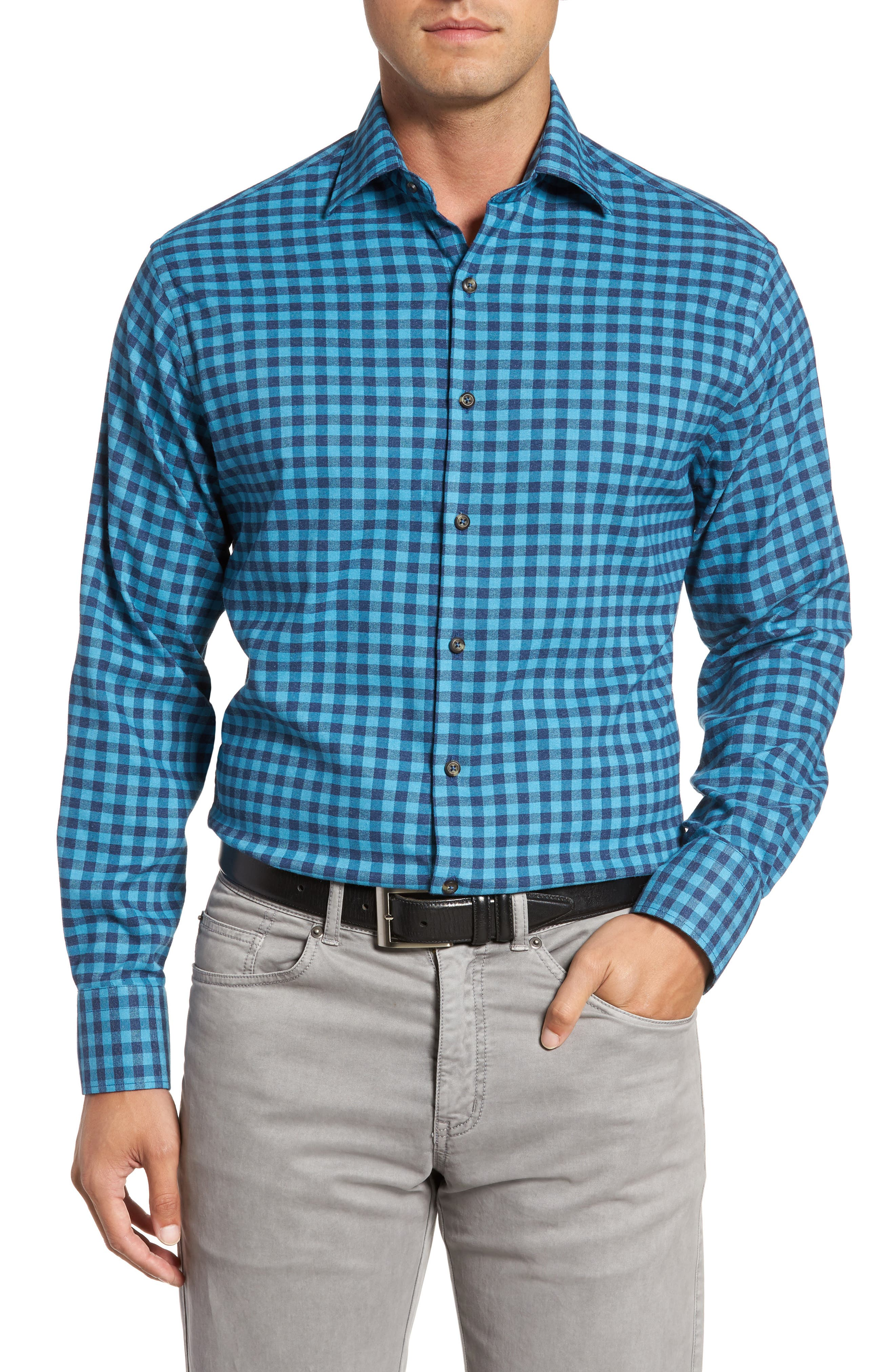 Vedder Gingham Regular Fit Performance Sport Shirt,                         Main,                         color, Midnight