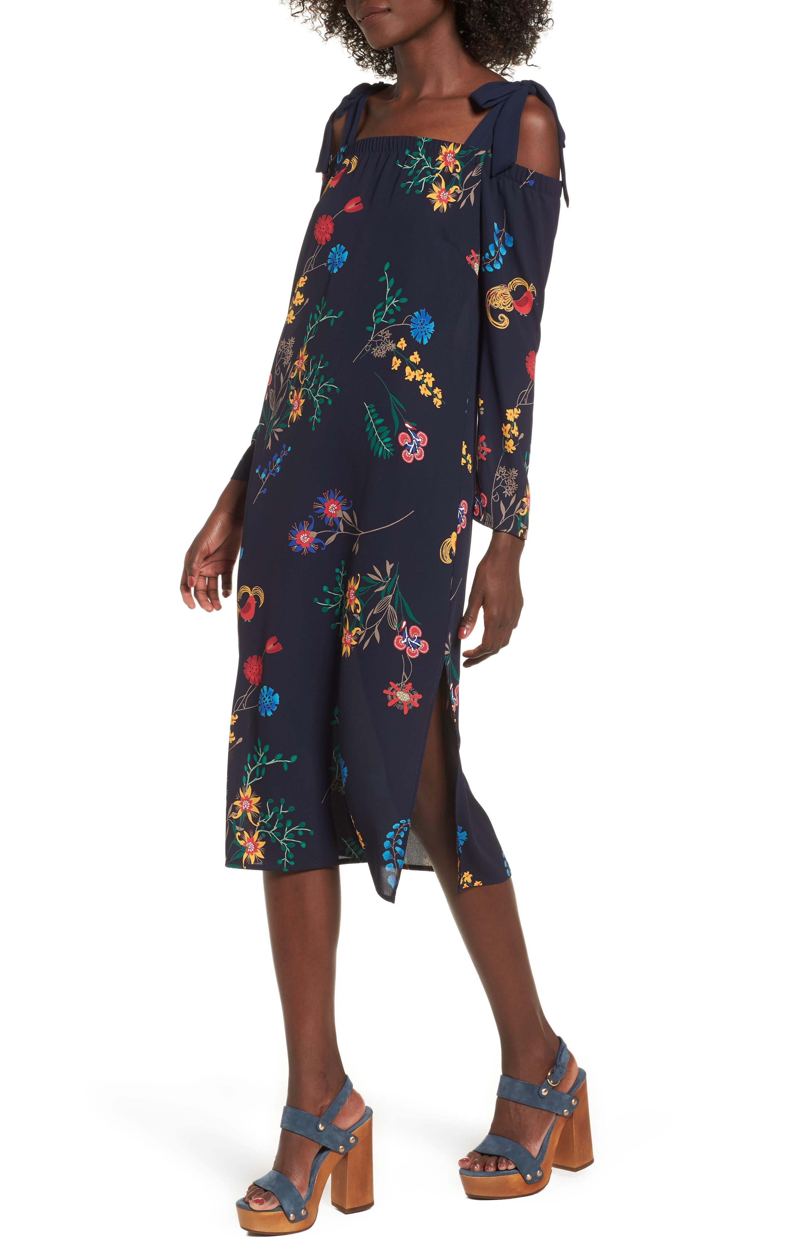 Print Off the Shoulder Midi Dress,                         Main,                         color, Navy