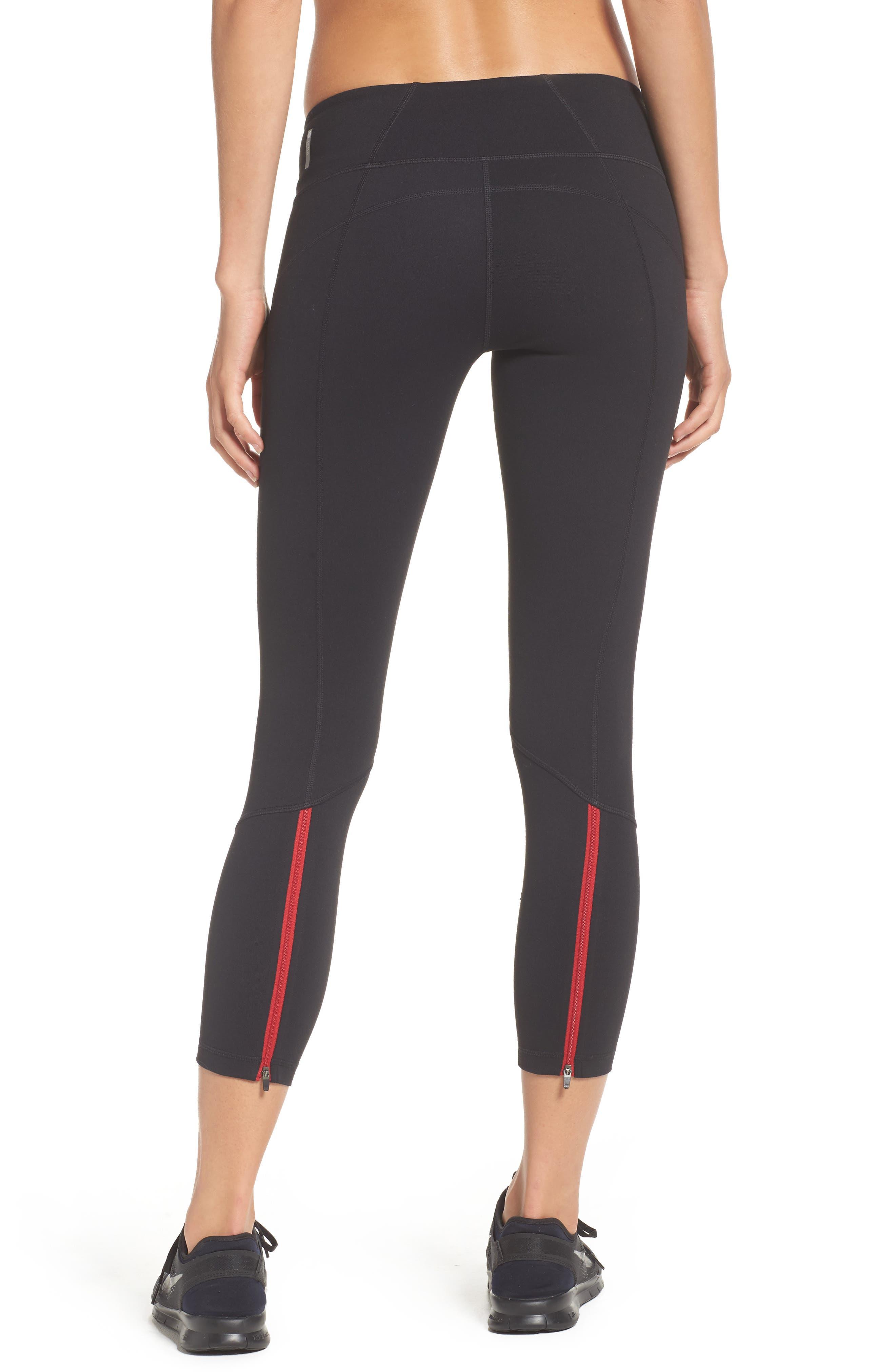 Zoey Zip Midi Leggings,                         Main,                         color, Black