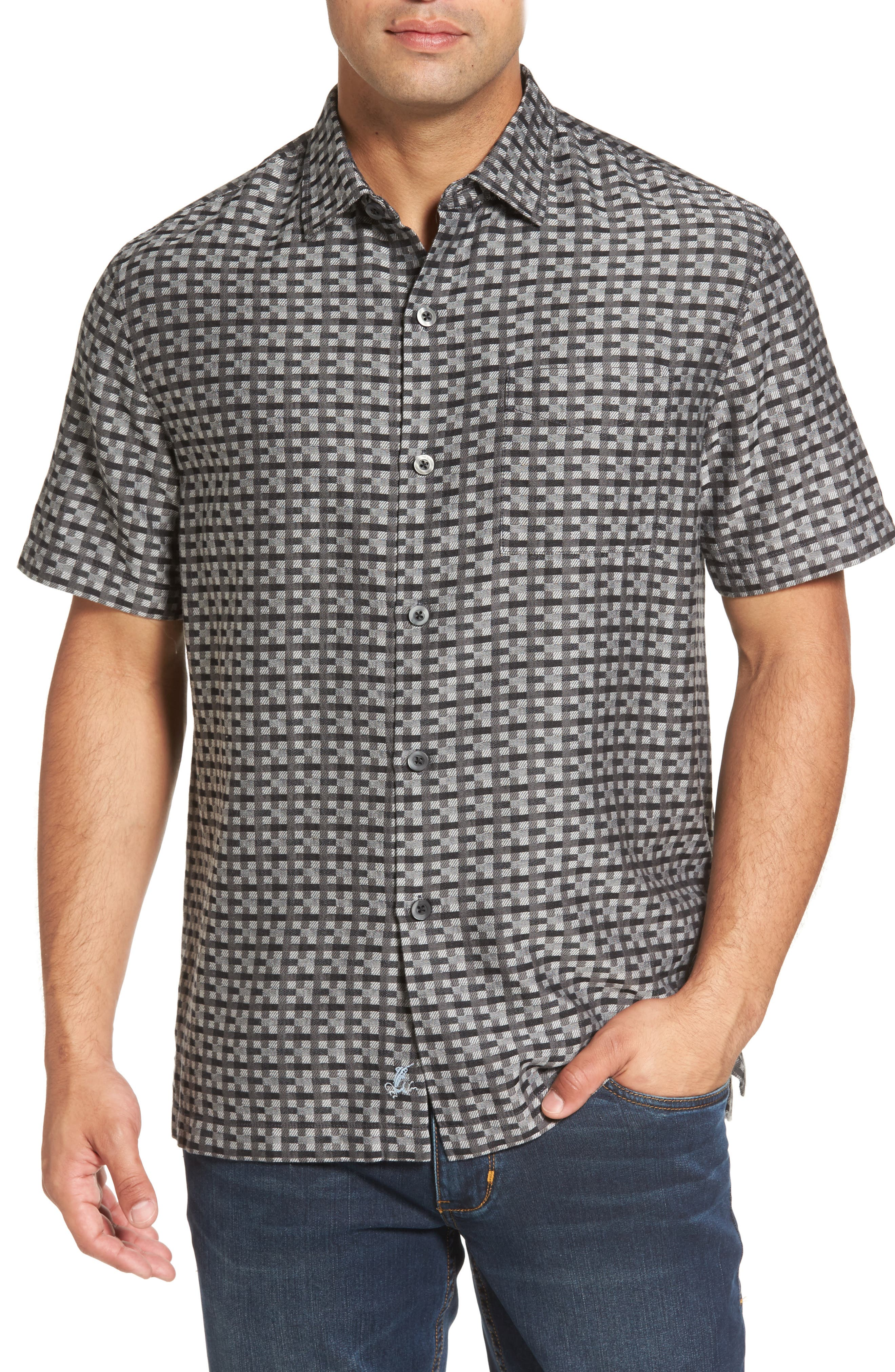 Moroccan Squares Standard Fit Silk Blend Camp Shirt,                         Main,                         color, Jet Black