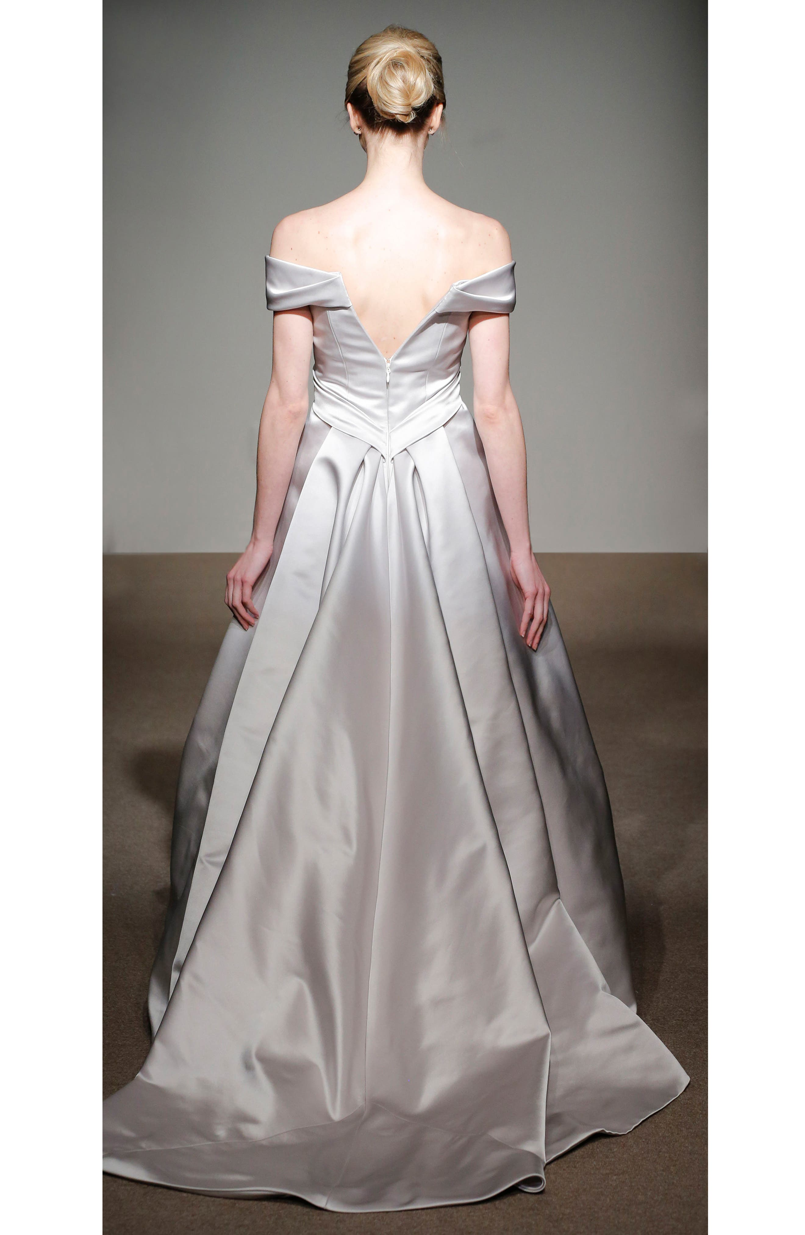 Alternate Image 2  - Anna Maier Couture Elizabeth Off the Shoulder Silk Gown