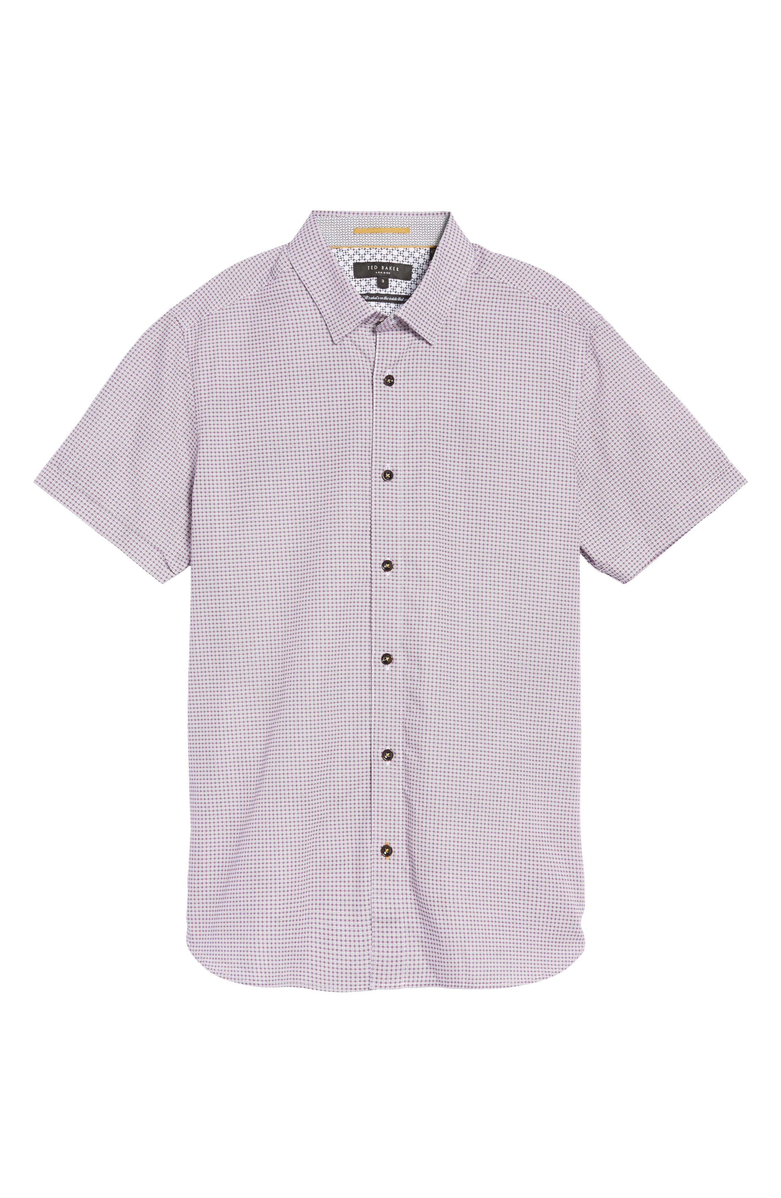 Tennent Trim Fit Microprint Woven Shirt,                             Alternate thumbnail 5, color,                             Dp Purple