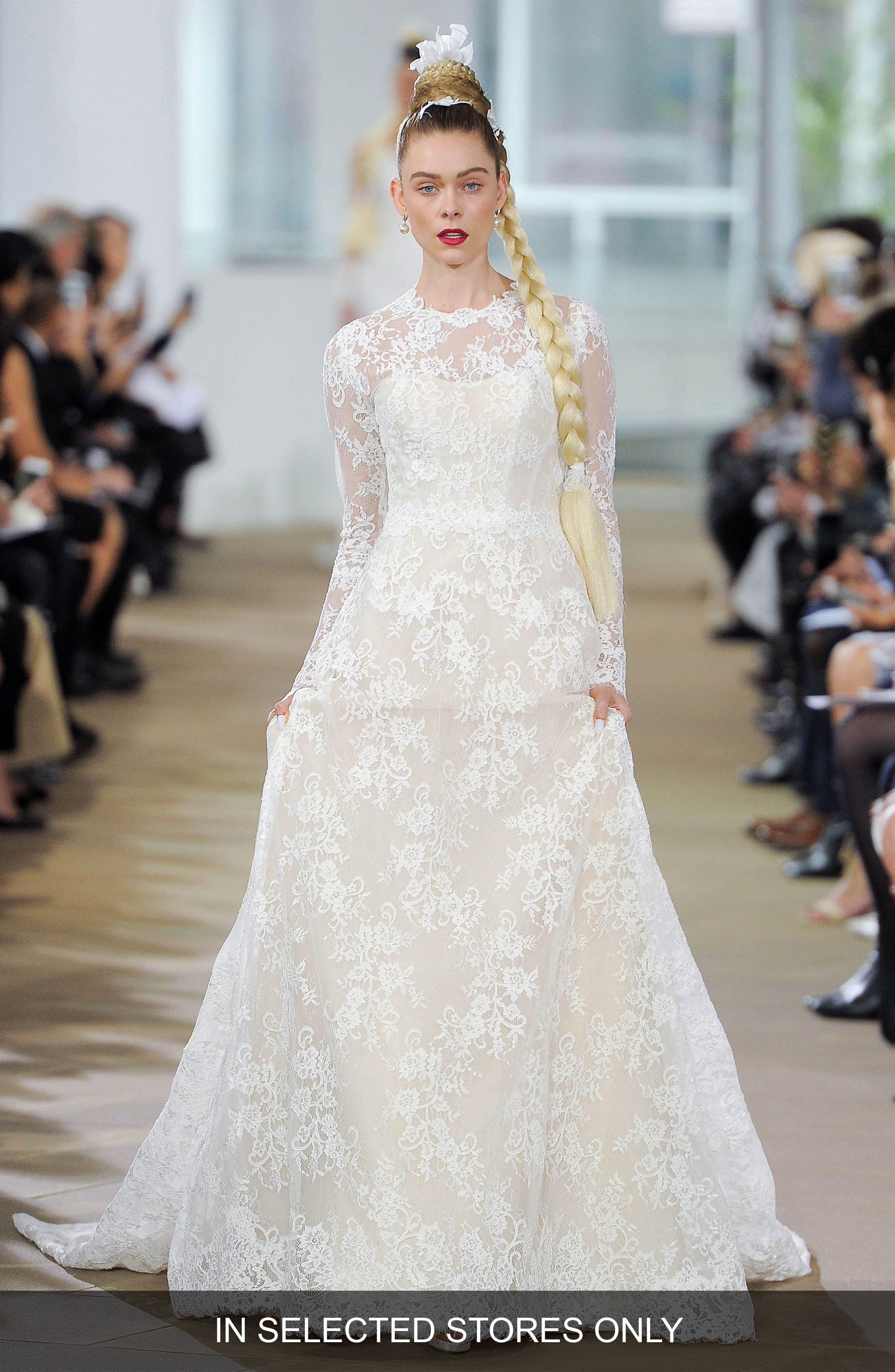 Deborah Silk Lace A-Line Gown,                         Main,                         color, Cameo Pink