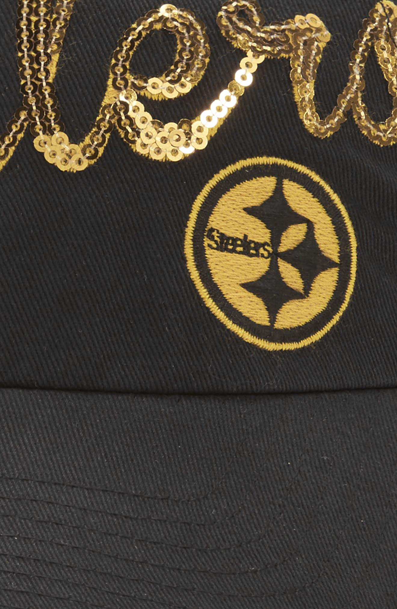 Pittsburgh Steelers Sparkle Cap,                             Alternate thumbnail 3, color,                             Black