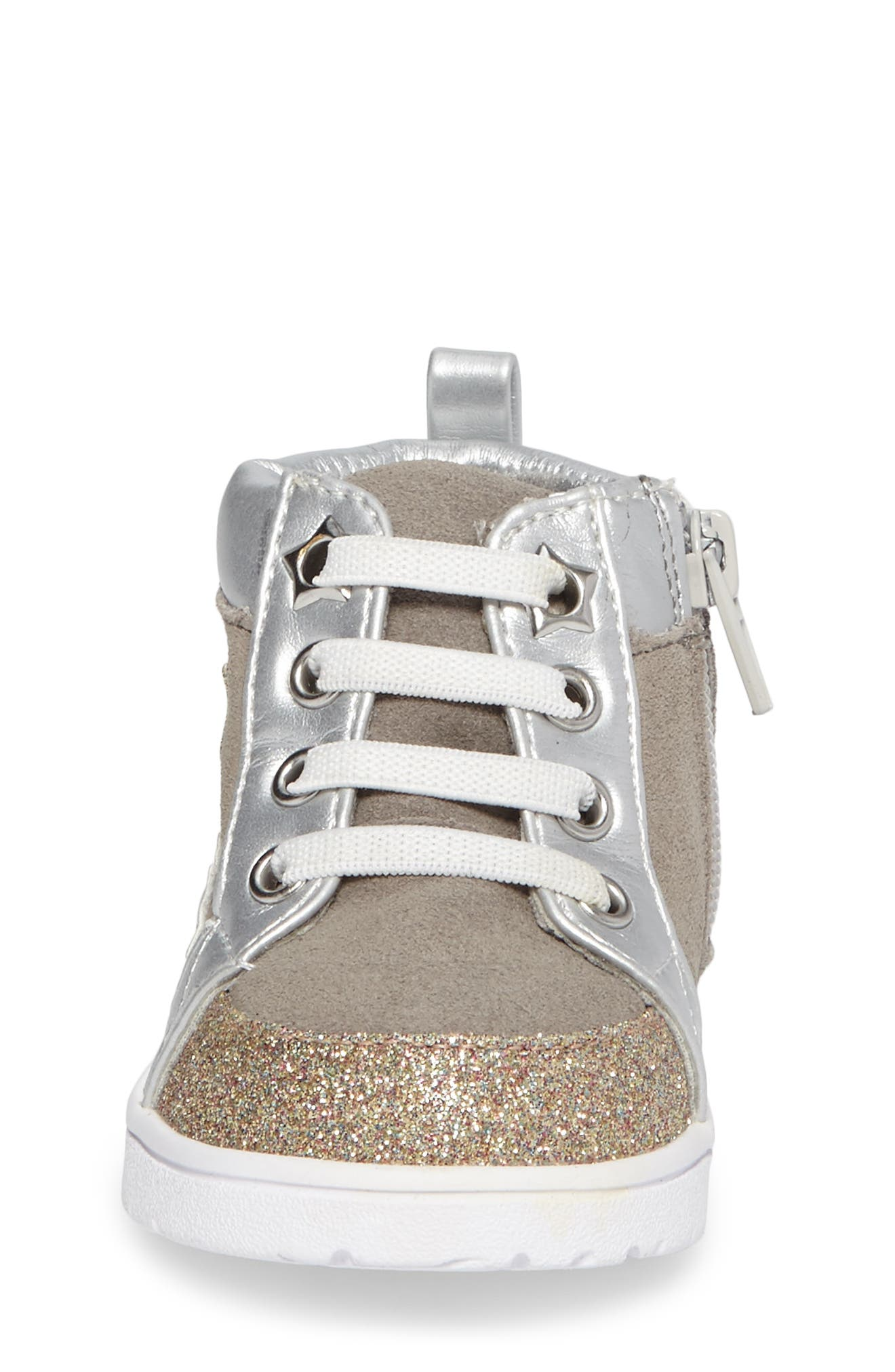 Diantha Star Appliqué High Top Sneaker,                             Alternate thumbnail 4, color,                             Grey Leather
