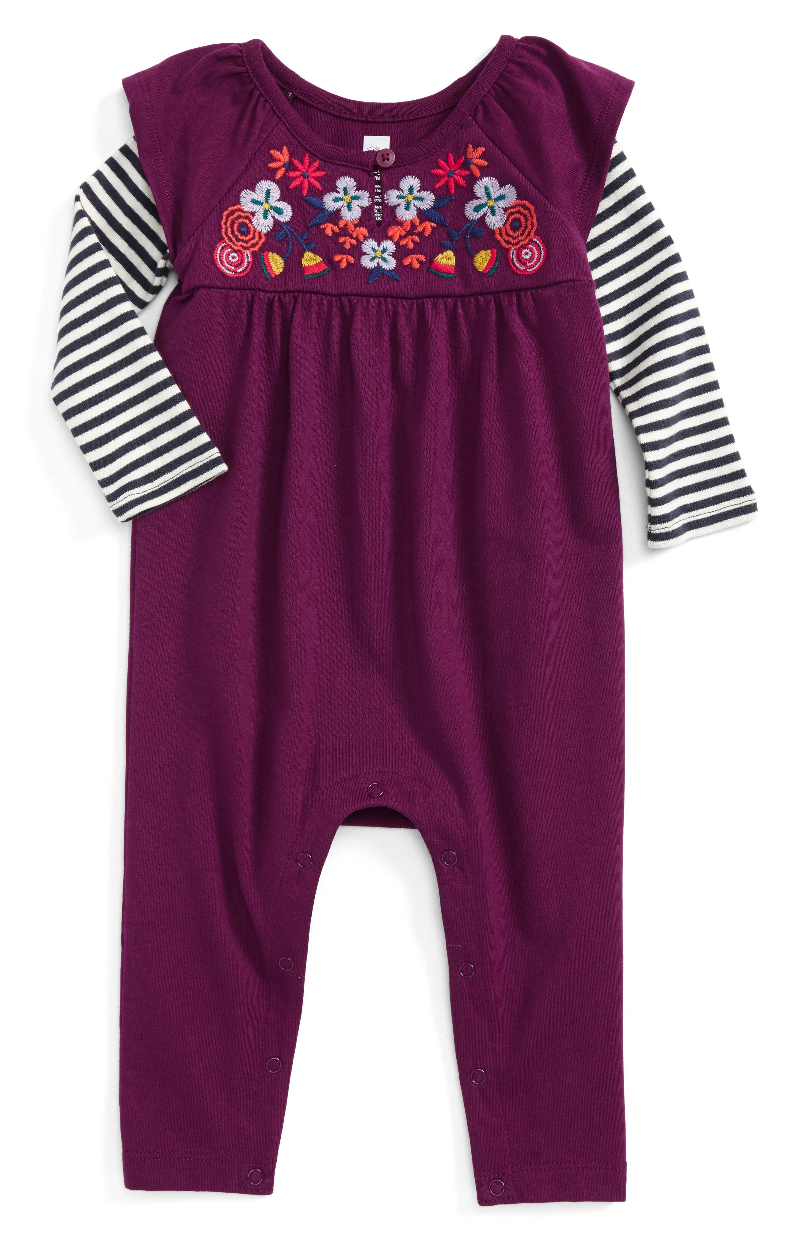 Alternate Image 1 Selected - Tea Collection Willow Embroidered Romper (Baby Girls)
