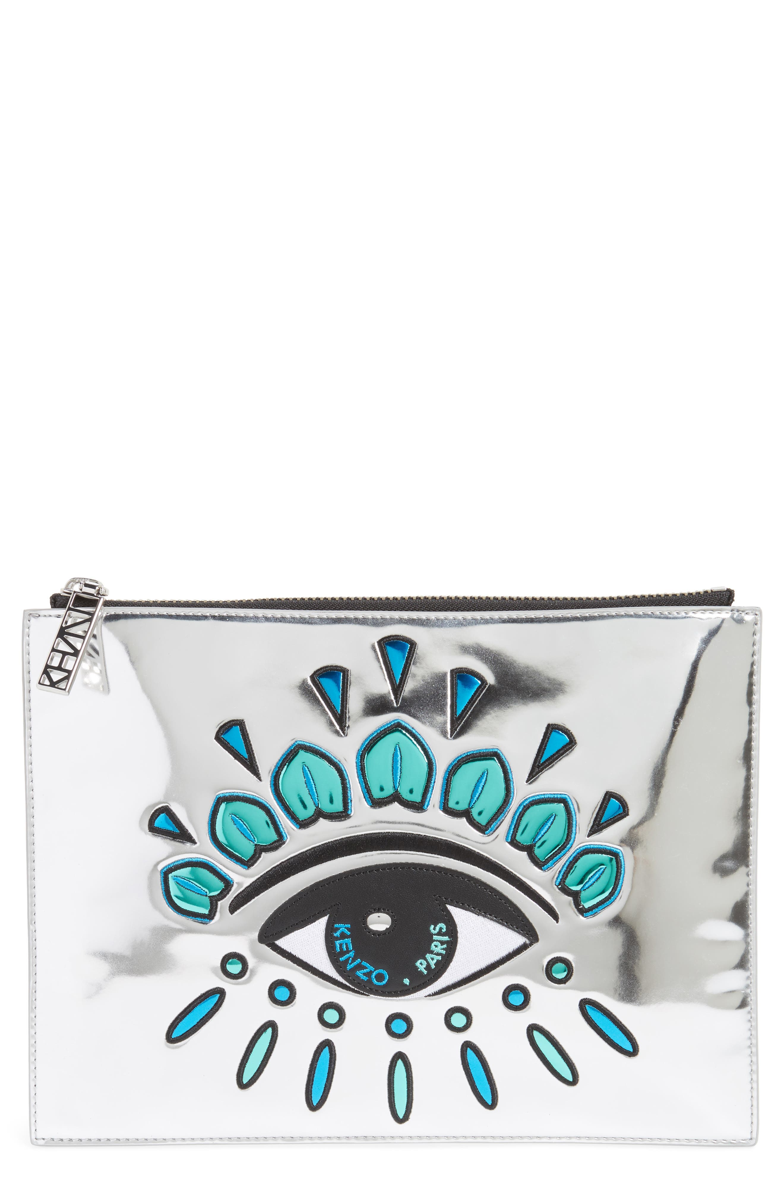 Icons Eye Faux Leather Pouch,                         Main,                         color, Silver