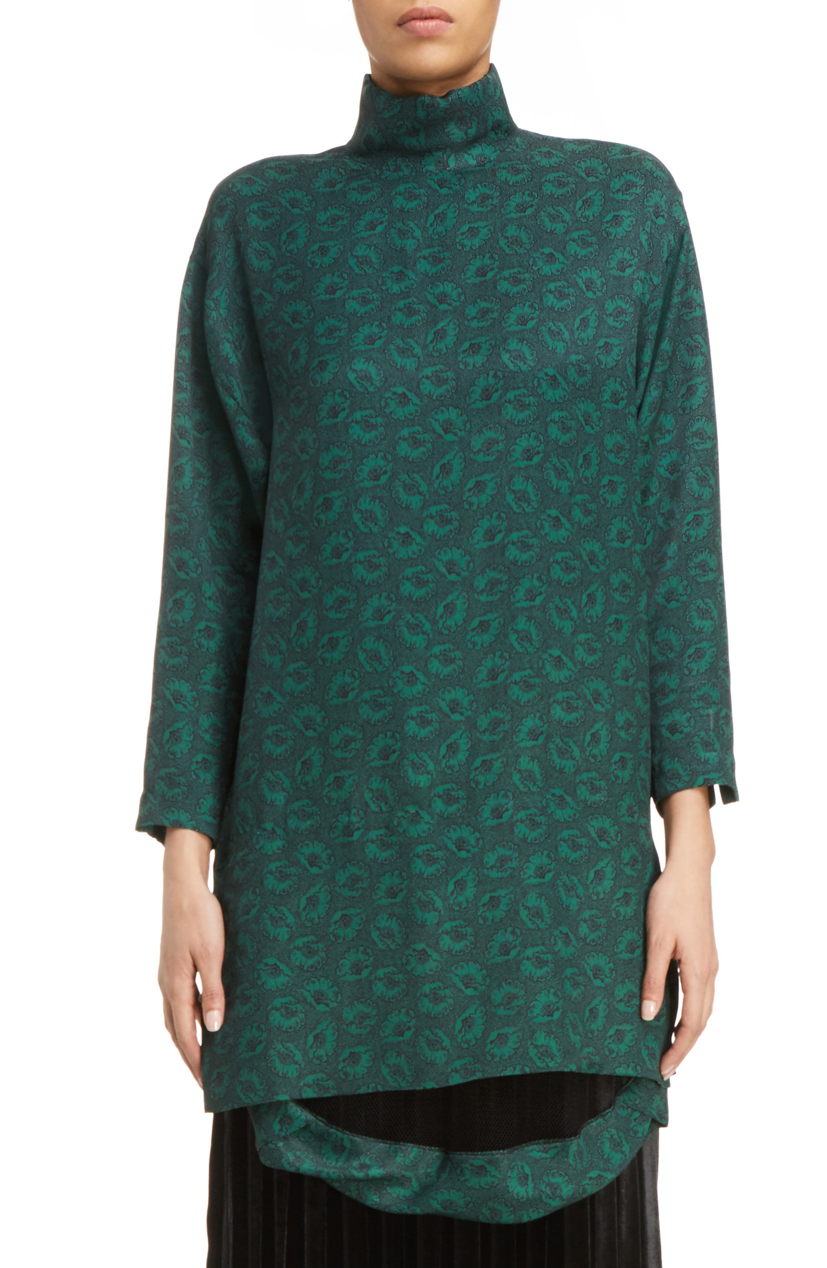 Floral Print Twill Dress,                         Main,                         color, Green