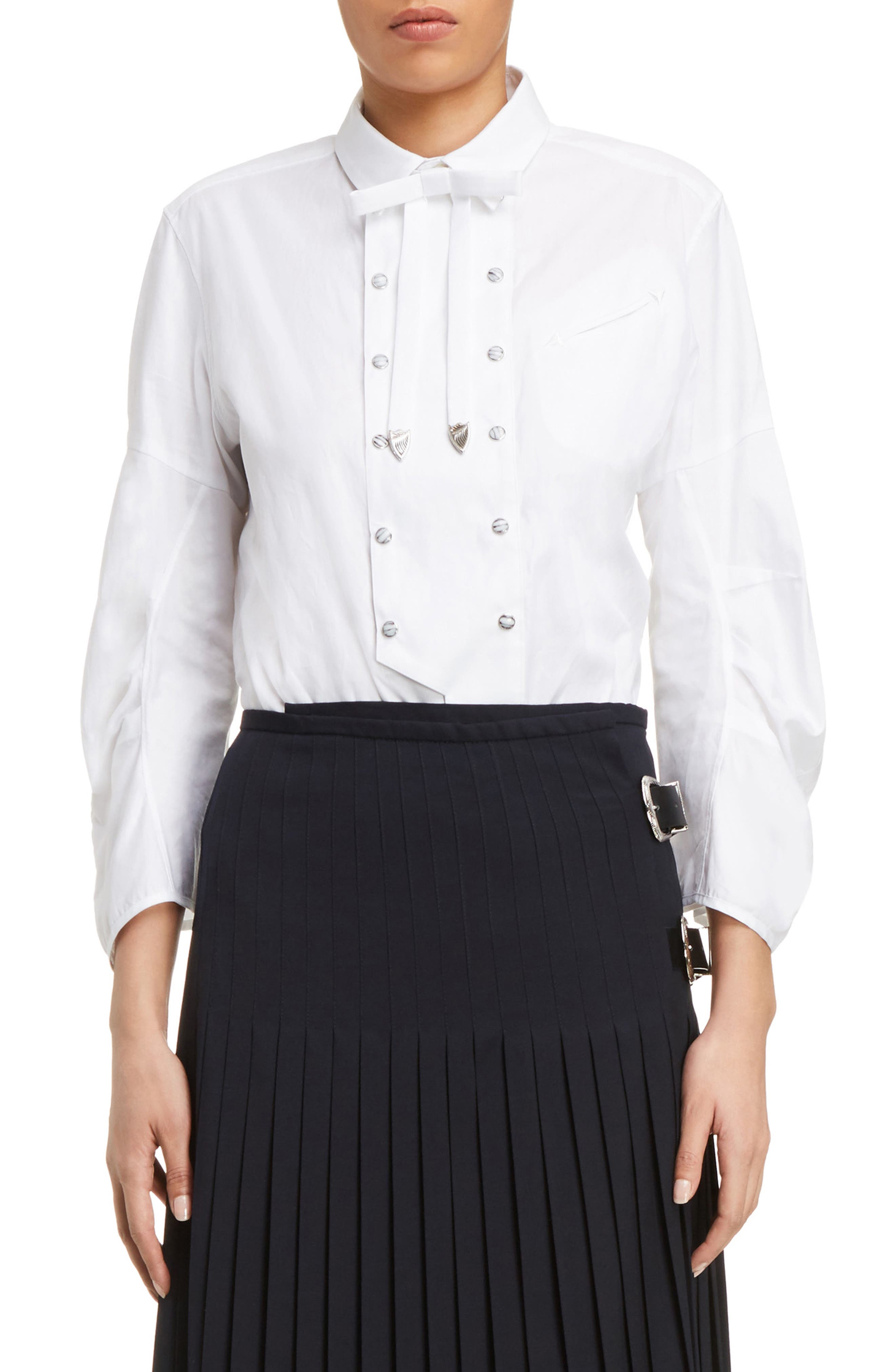 Double Breasted Bow Blouse,                         Main,                         color, White