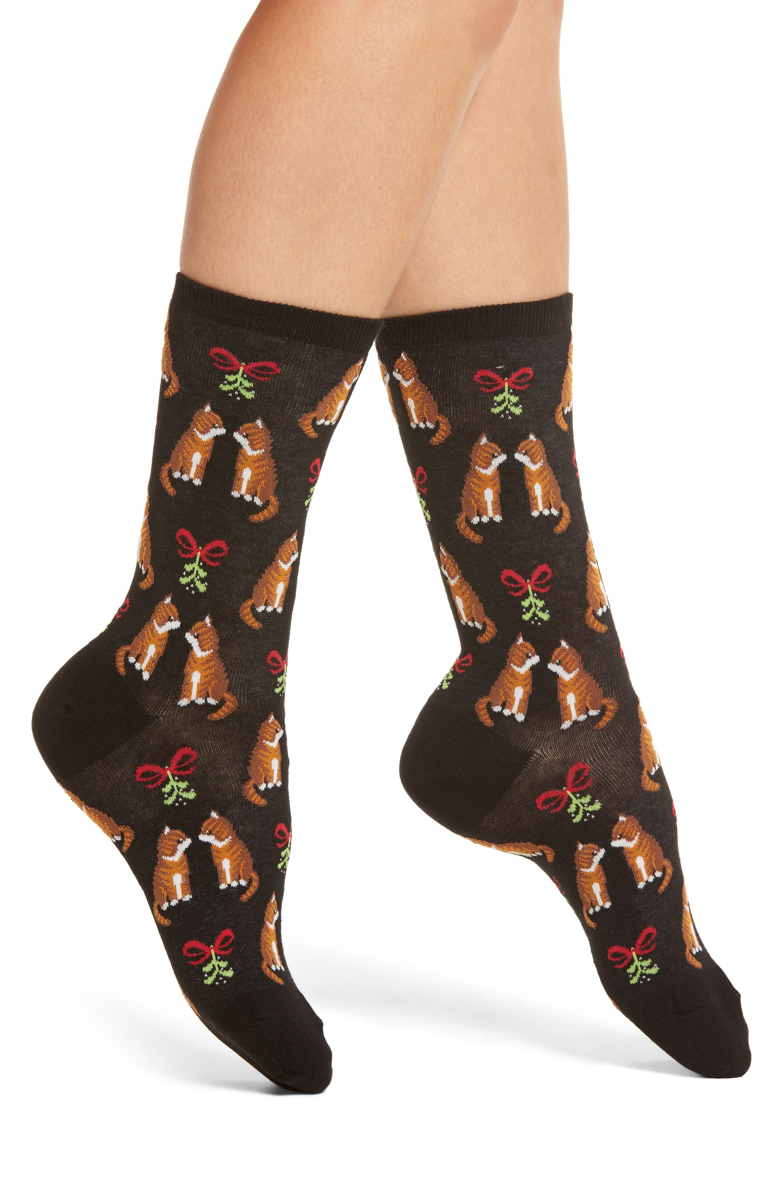 Hot Sox Mistletoe Cat Crew Socks (3 for $15)