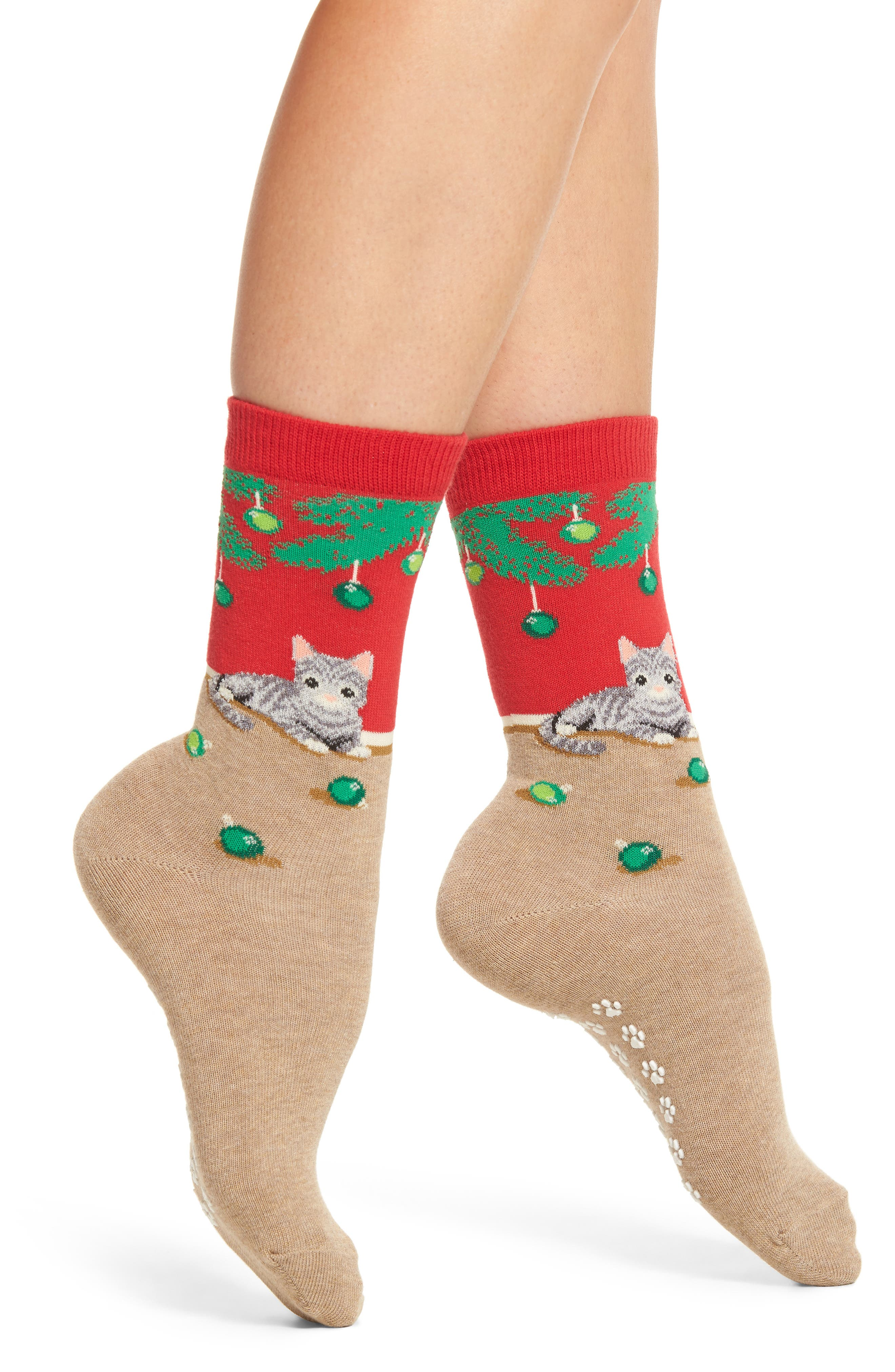 Hot Sox Christmas Cat Nonskid Socks (3 for $15)