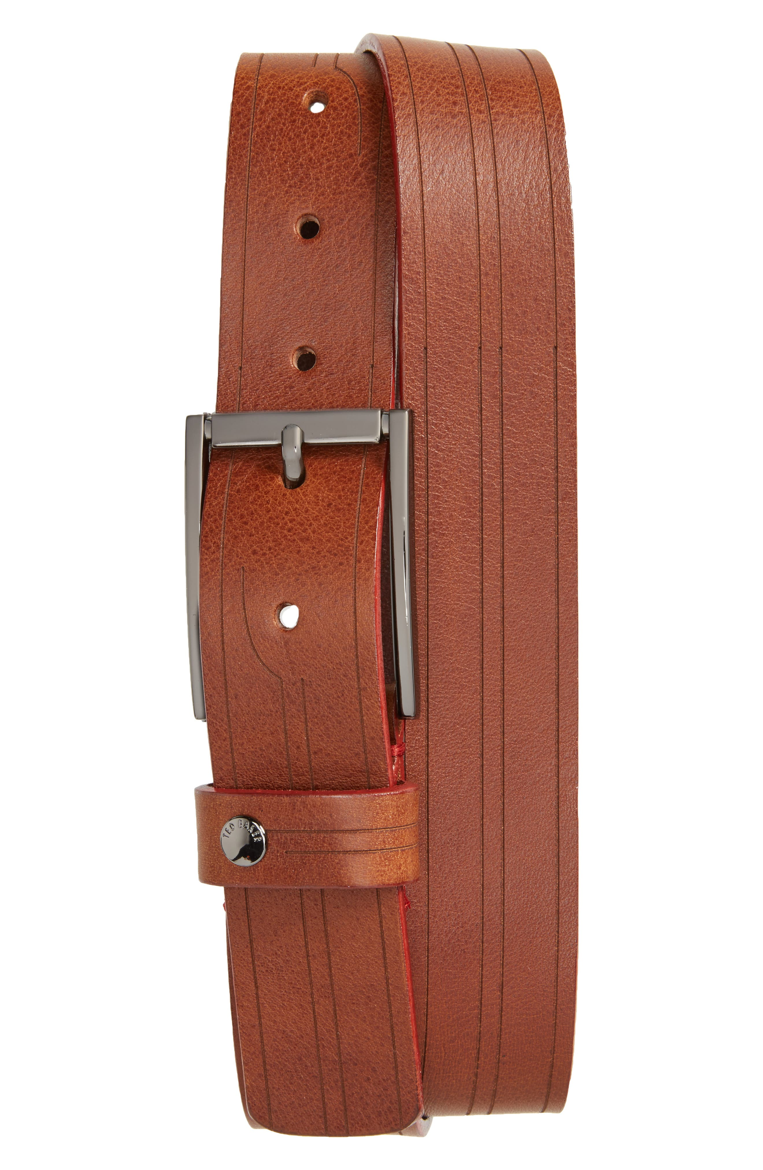 Magno Leather Belt,                             Main thumbnail 1, color,                             Tan