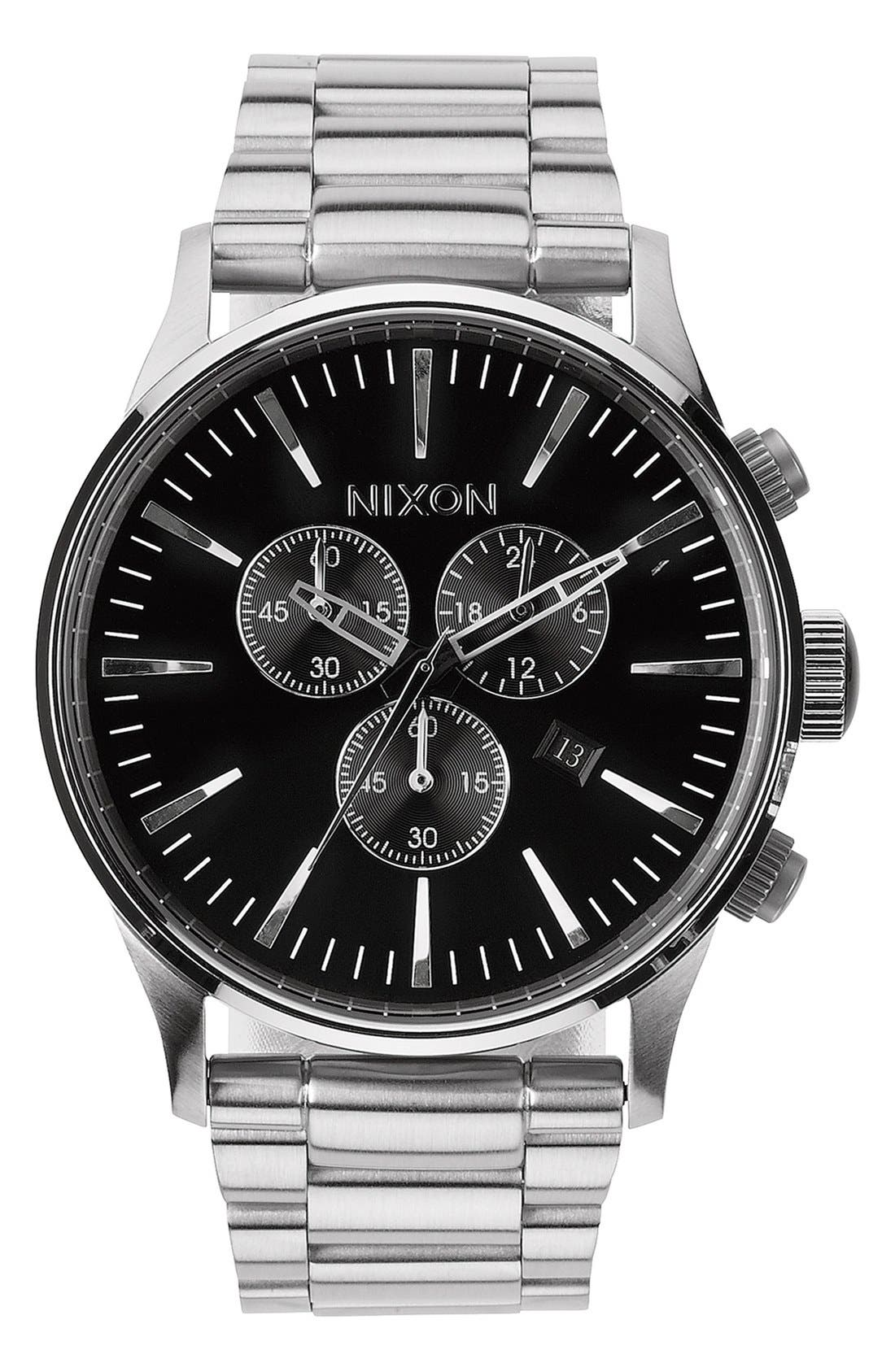 'The Sentry' Chronograph Bracelet Watch, 42mm,                             Main thumbnail 1, color,                             Silver/ Black