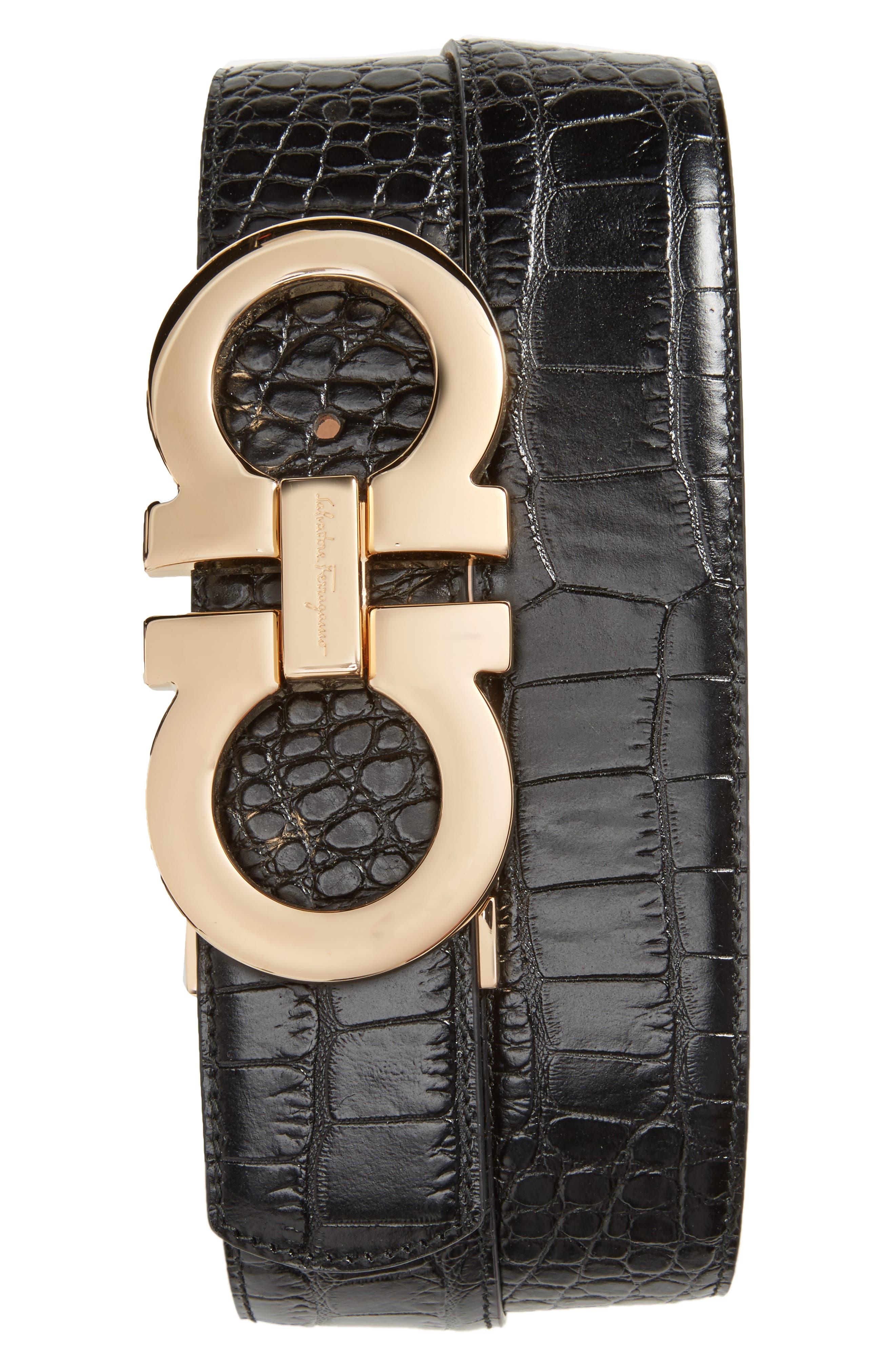 Gancini Leather Belt,                             Main thumbnail 1, color,                             Black