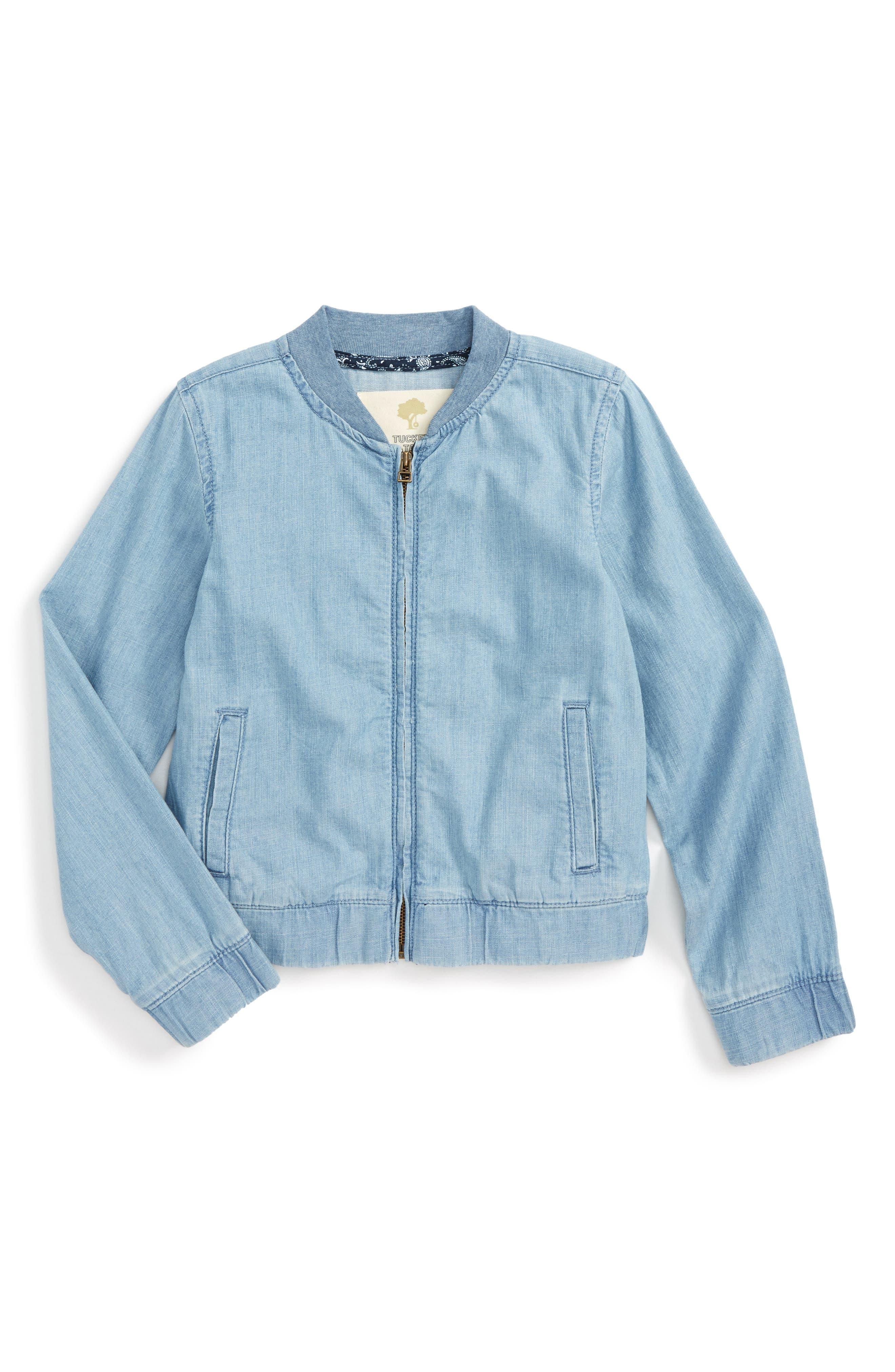 Denim Bomber Jacket,                             Main thumbnail 1, color,                             Bluebird Wash