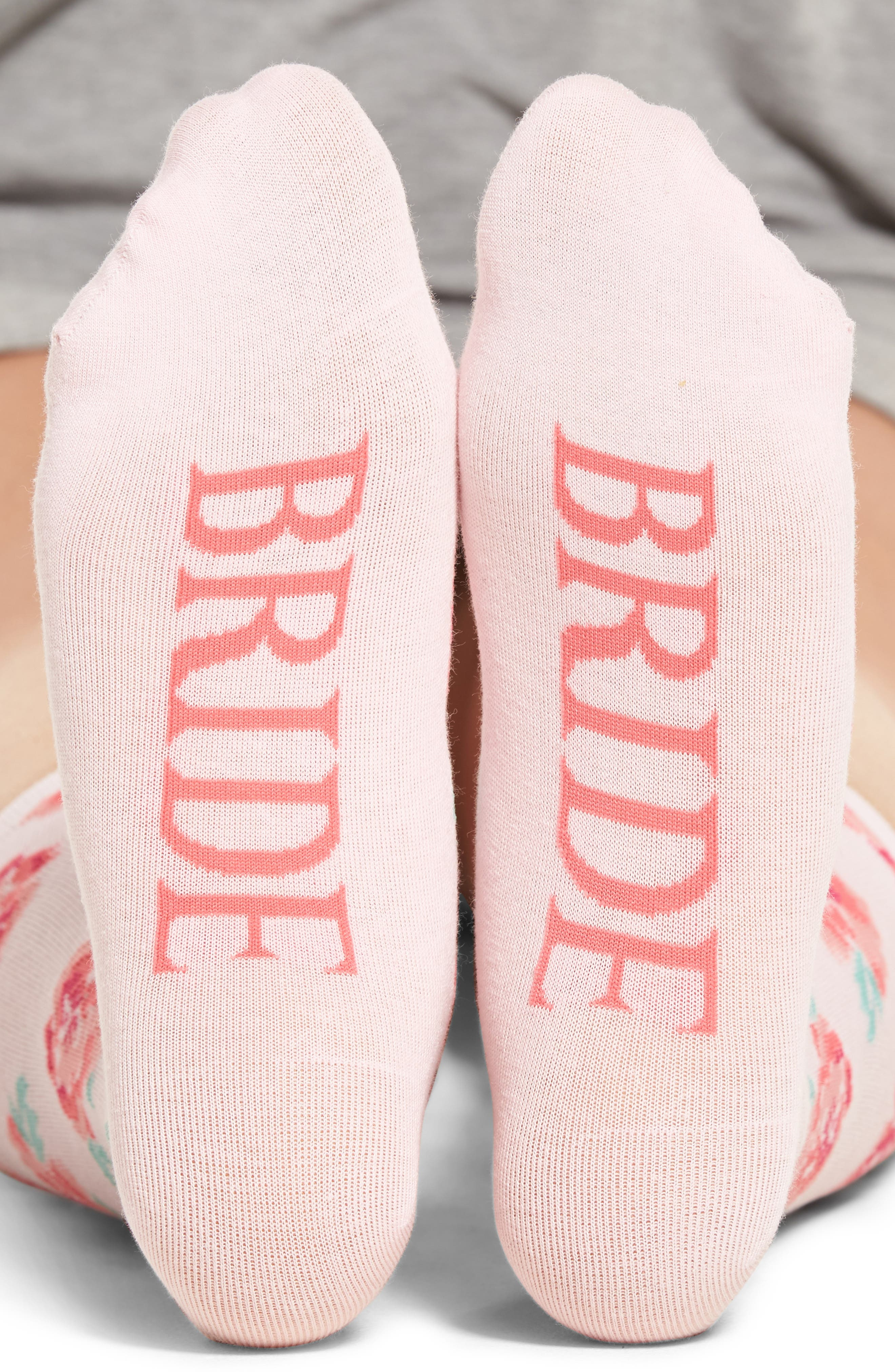 Bride Crew Socks,                         Main,                         color, Light Pink