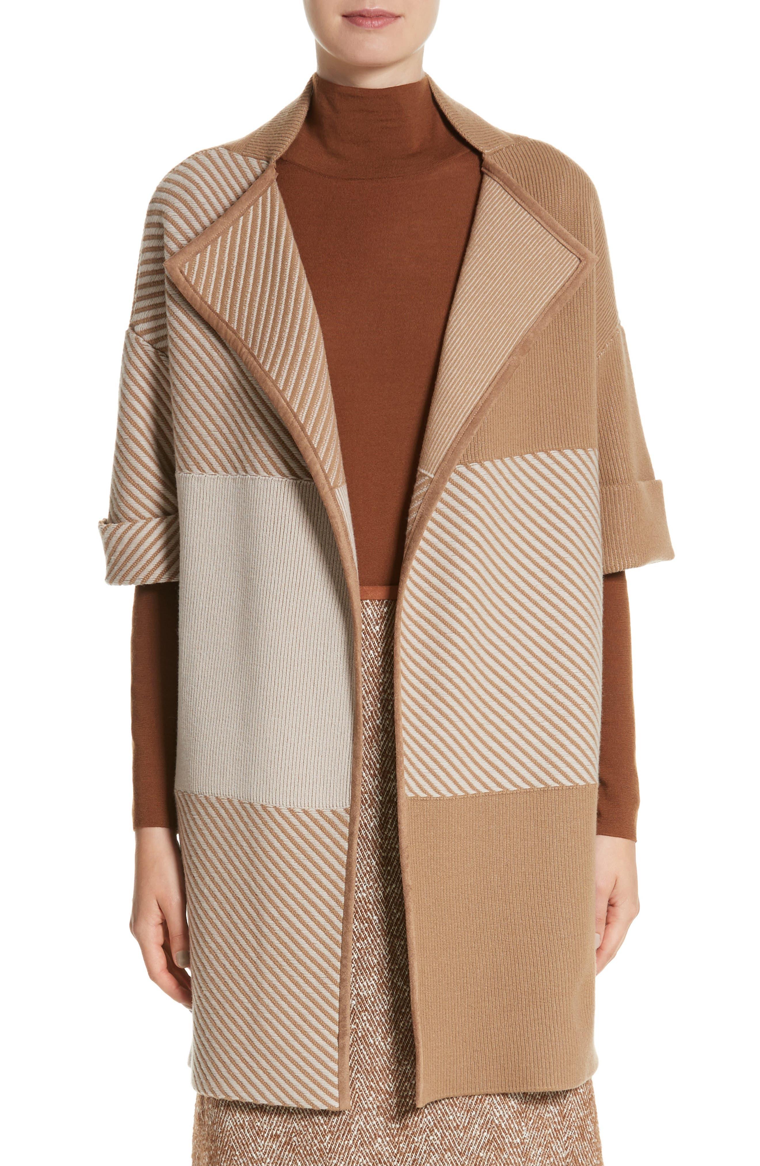 Main Image - Lafayette 148 New York Flannel Bicolor Jacquard Coat