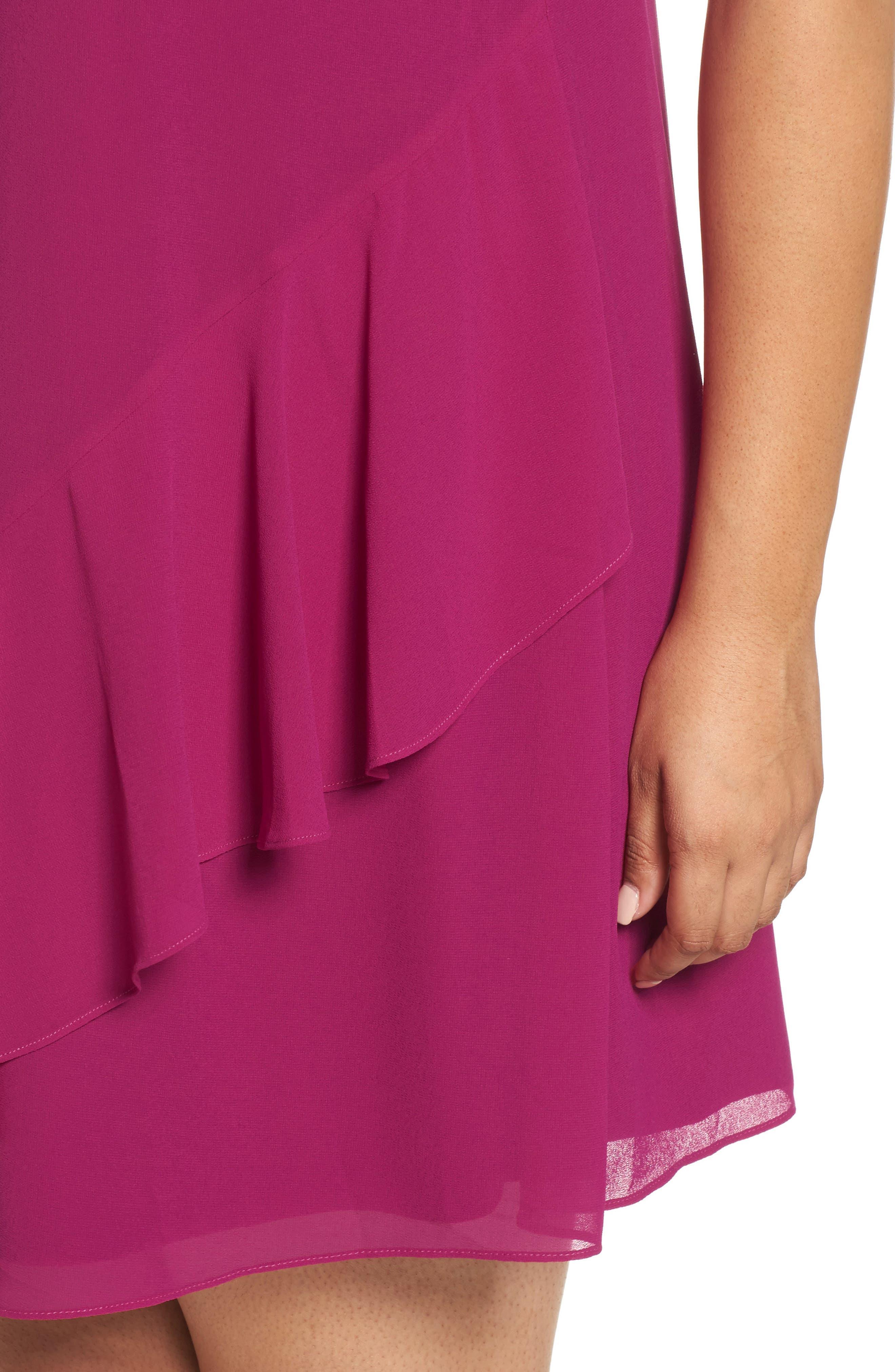 Ruffle Chiffon Shift Dress,                             Alternate thumbnail 4, color,                             Magenta