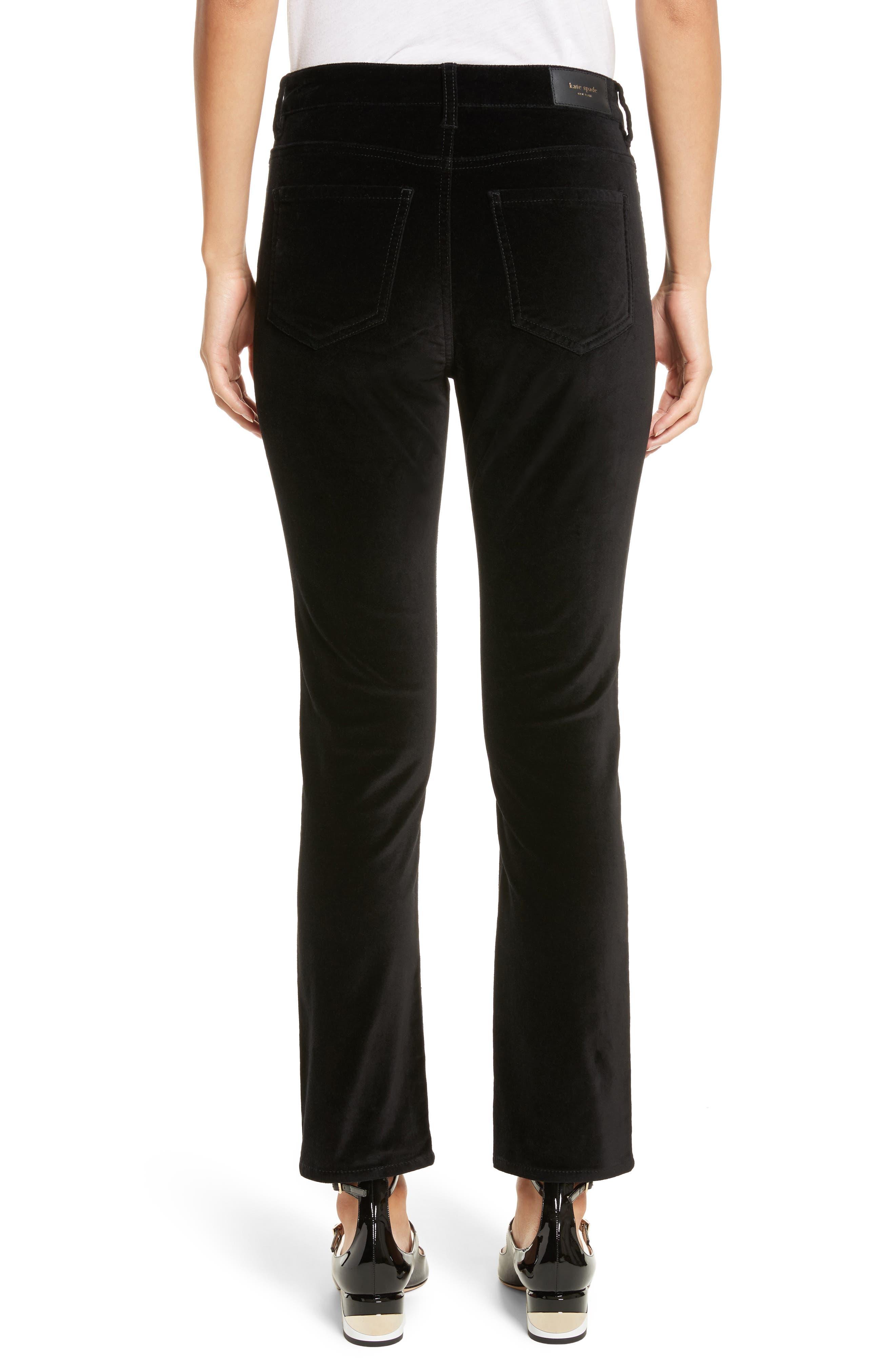 stretch velveteen ankle pants,                             Alternate thumbnail 2, color,                             Black