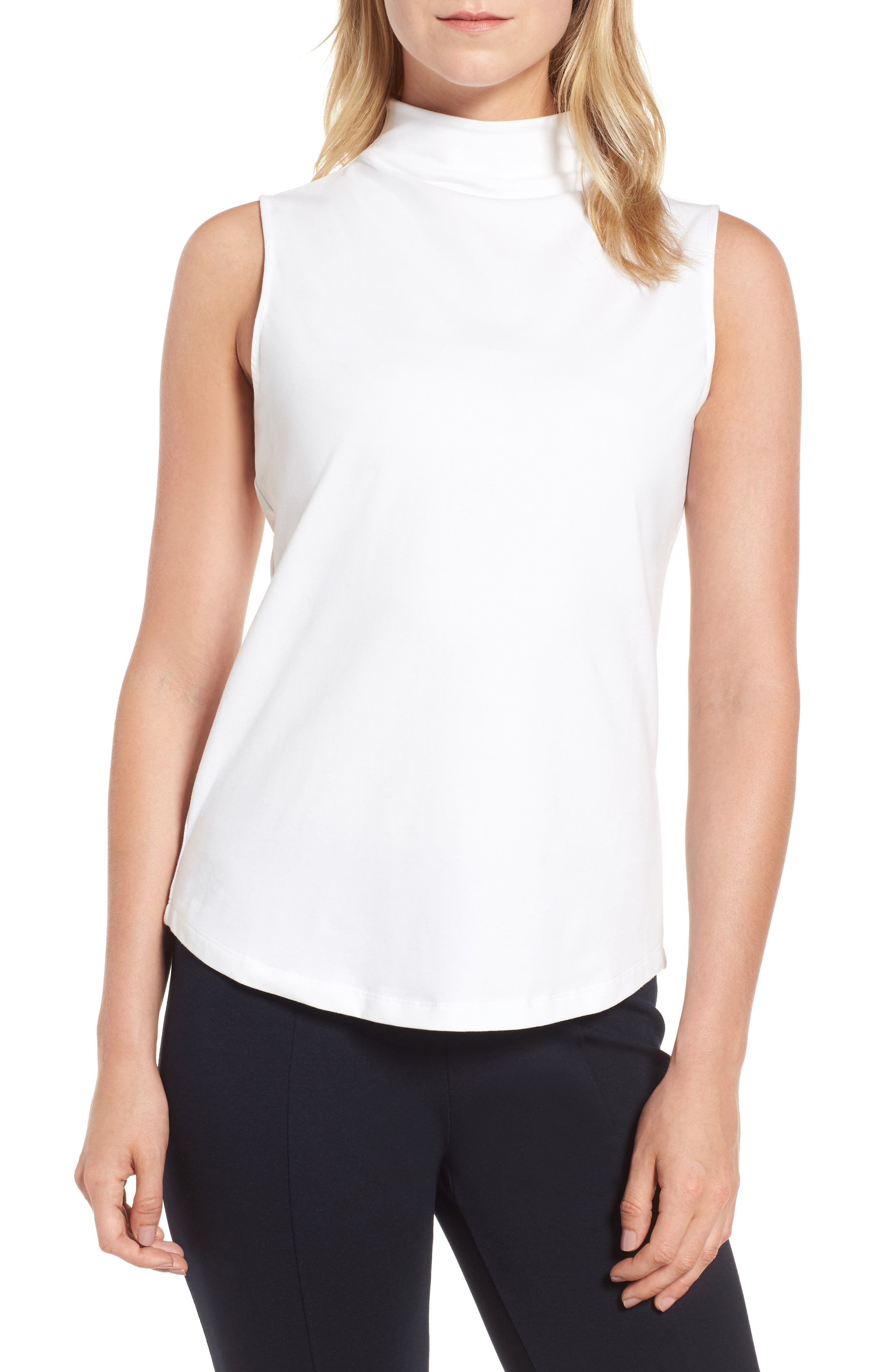 The Perfect Mock Neck Top,                         Main,                         color, Paper White