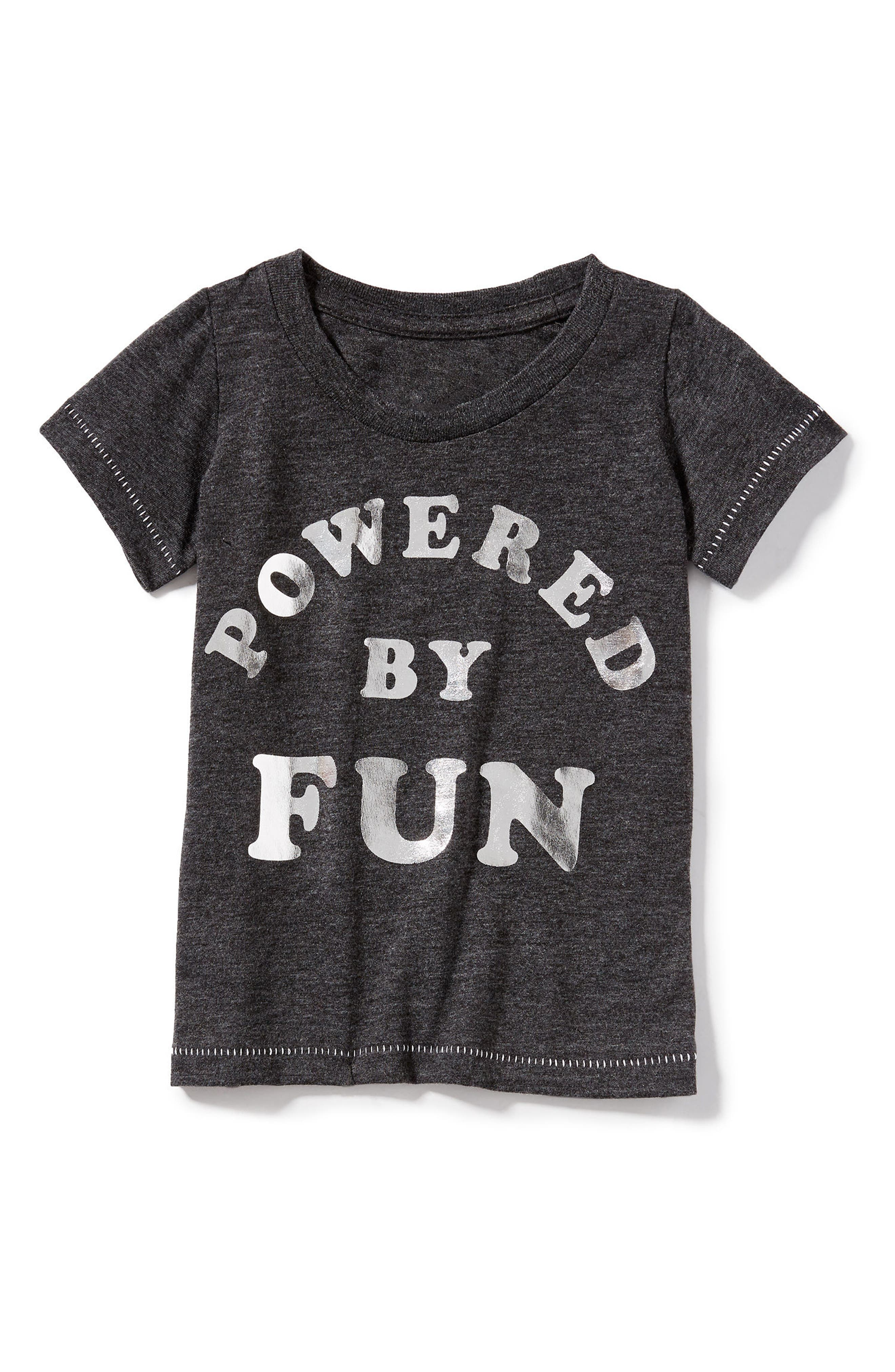 Powered By Fun Graphic Tee,                         Main,                         color, Charcoal
