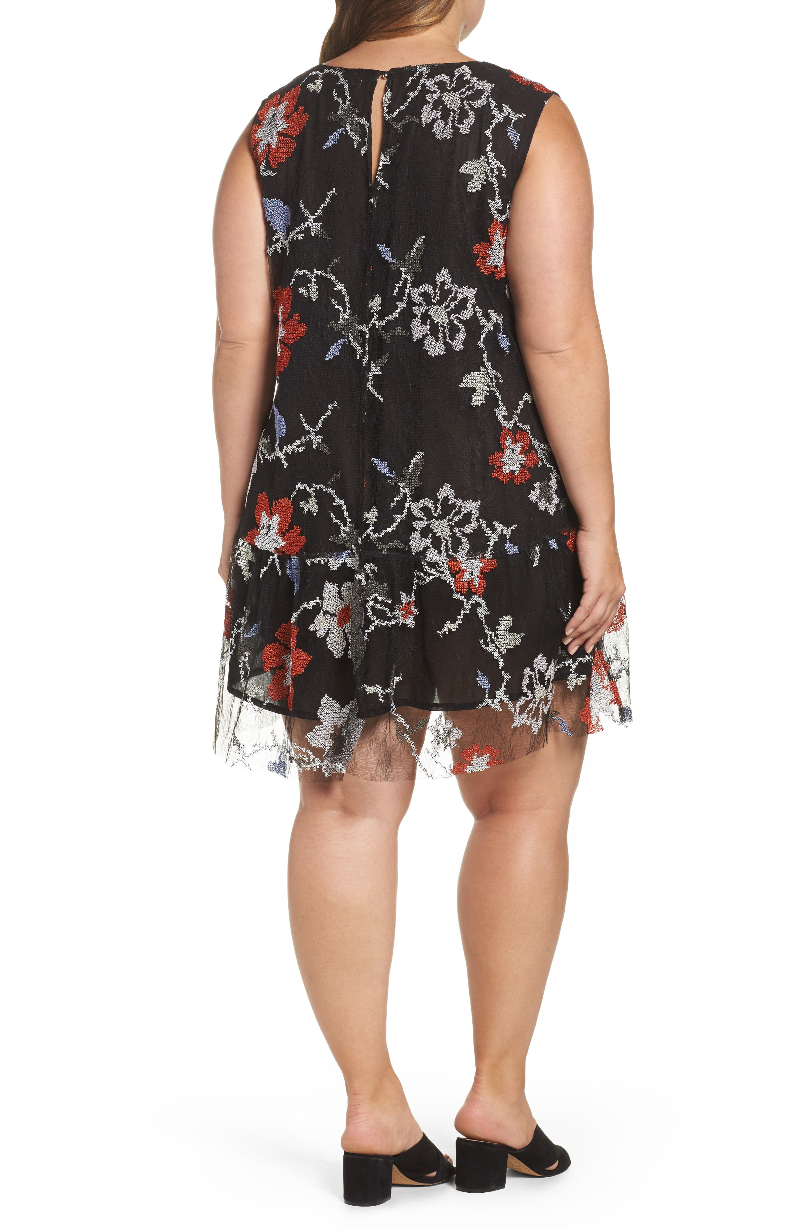 Alternate Image 2  - ELVI Abstract Floral Embroidery Sleeveless Dress (Plus Size)