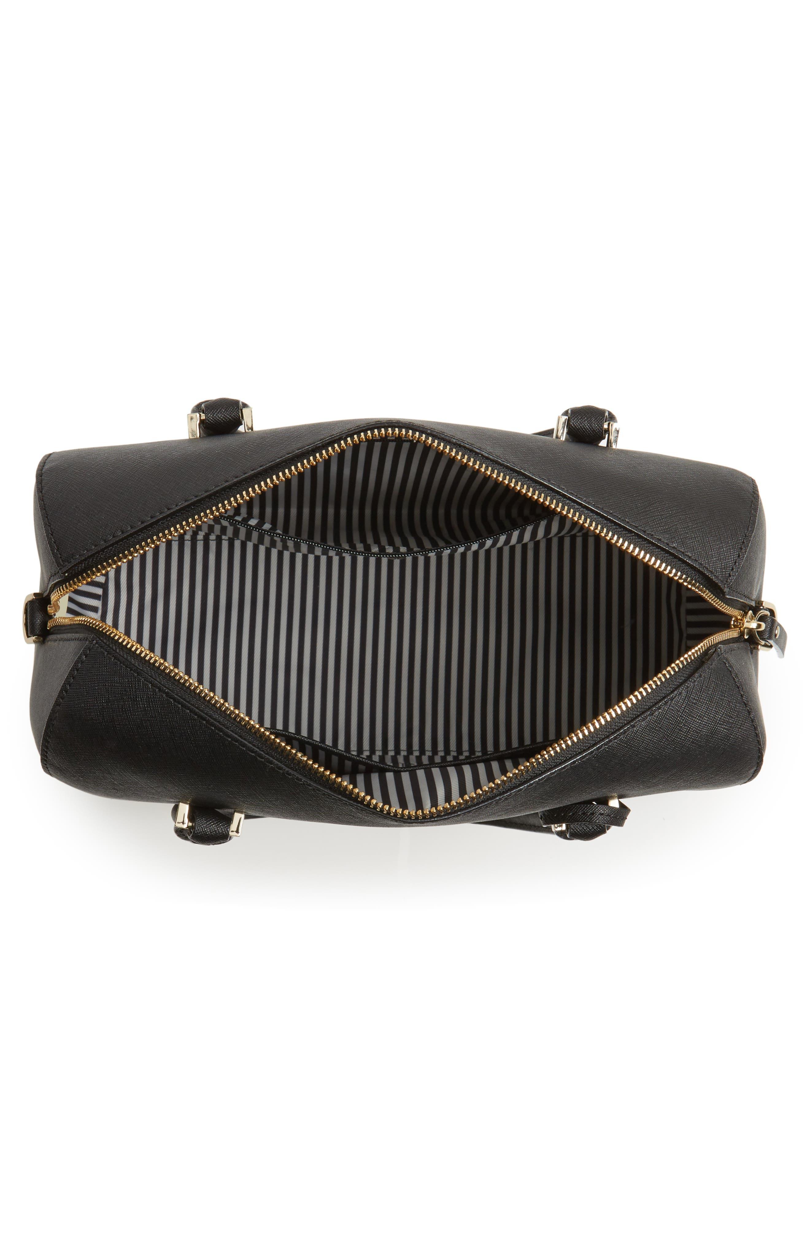 mega cameron street - lane leather satchel,                             Alternate thumbnail 3, color,                             Black