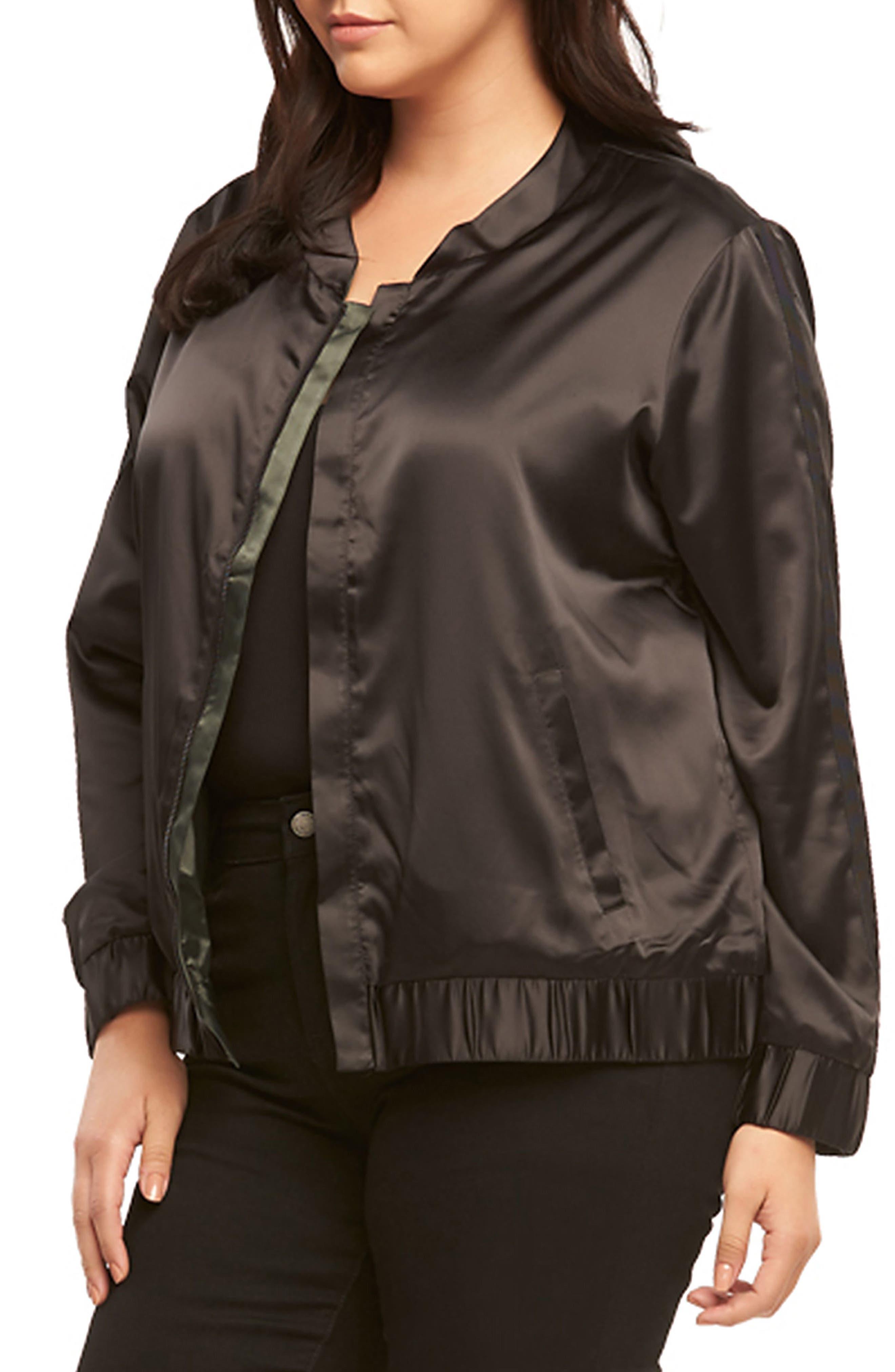Azaria Reversible Bomber Jacket,                             Alternate thumbnail 3, color,                             Black/ Urban Chic