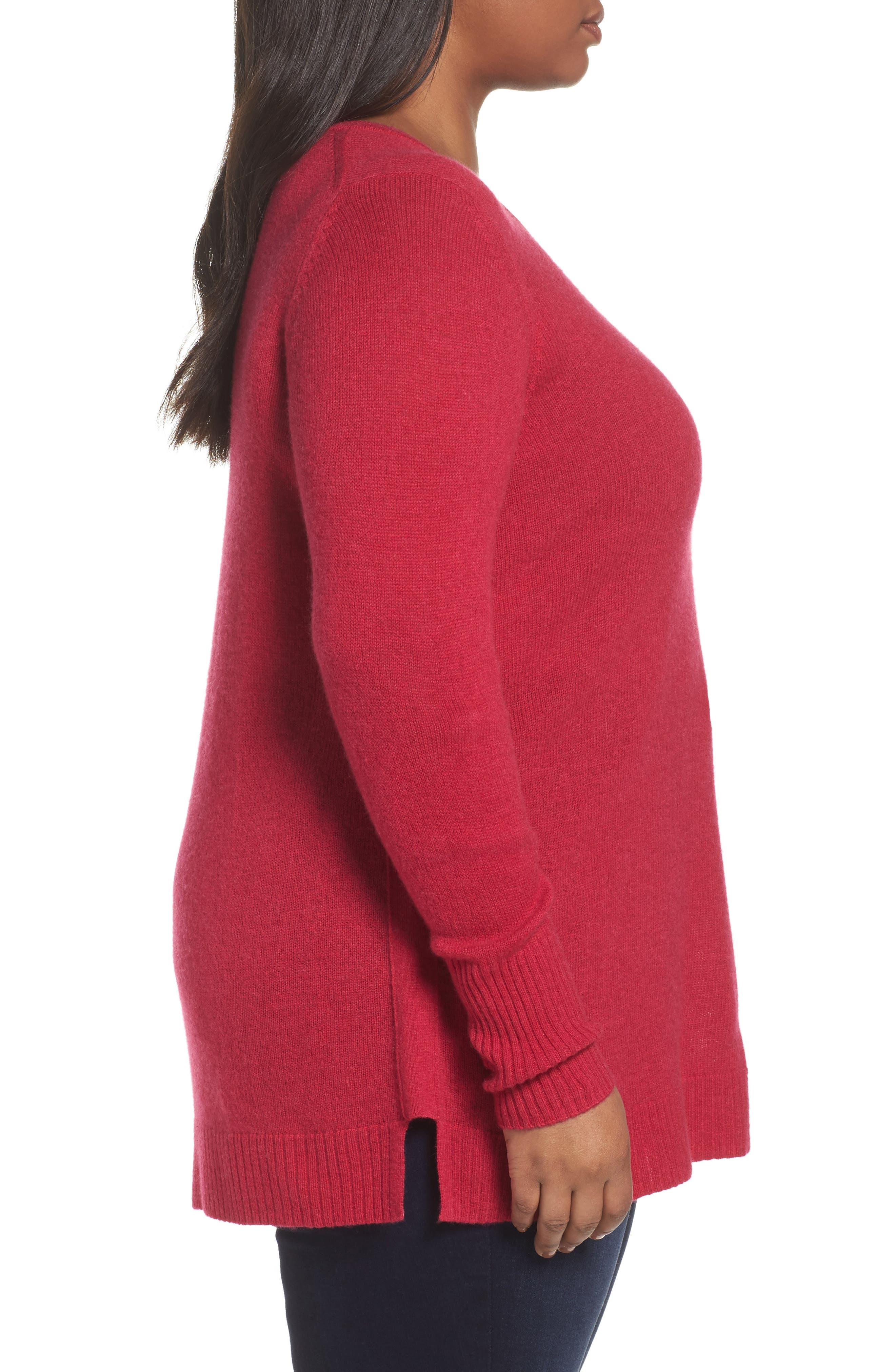 Alternate Image 3  - Sejour Crewneck Side Split Wool & Cashmere Pullover (Plus Size)