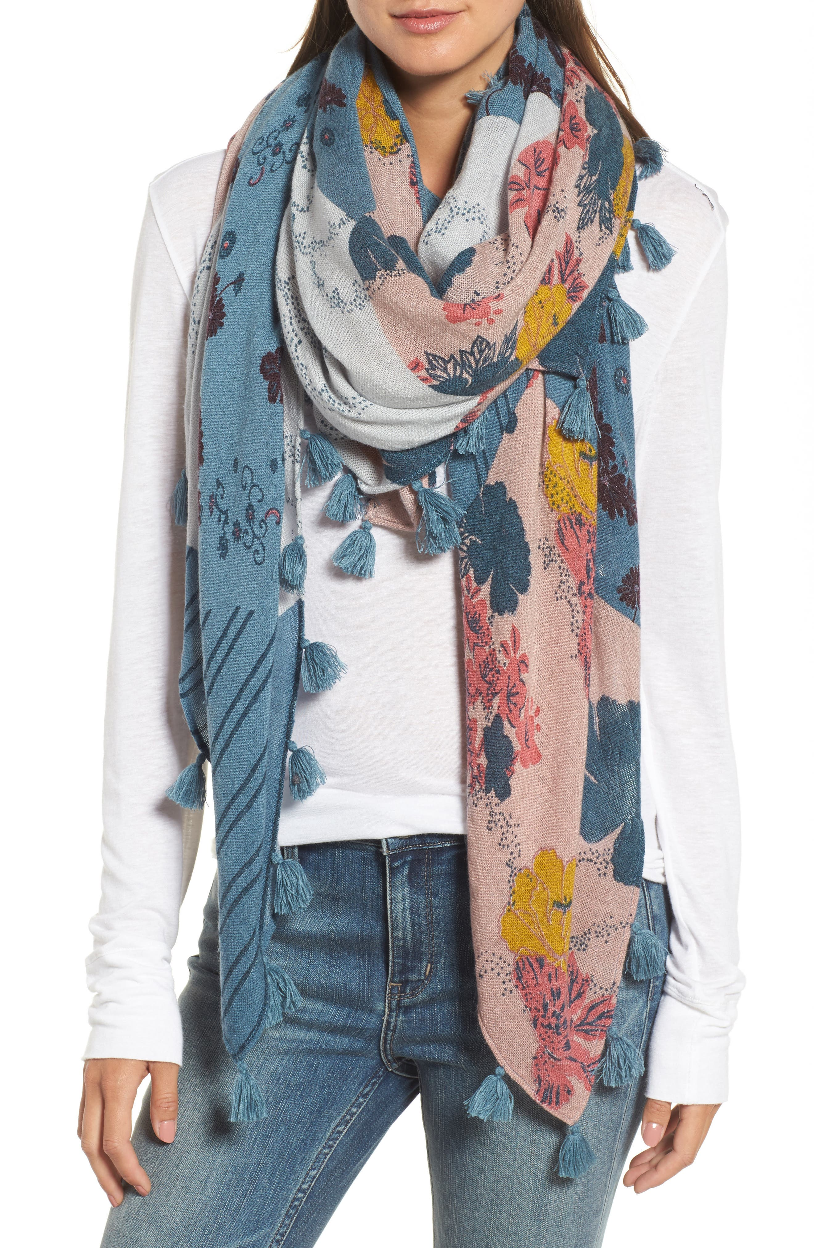 Main Image - Treasure & Bond Floral Fantasy Tassel Scarf