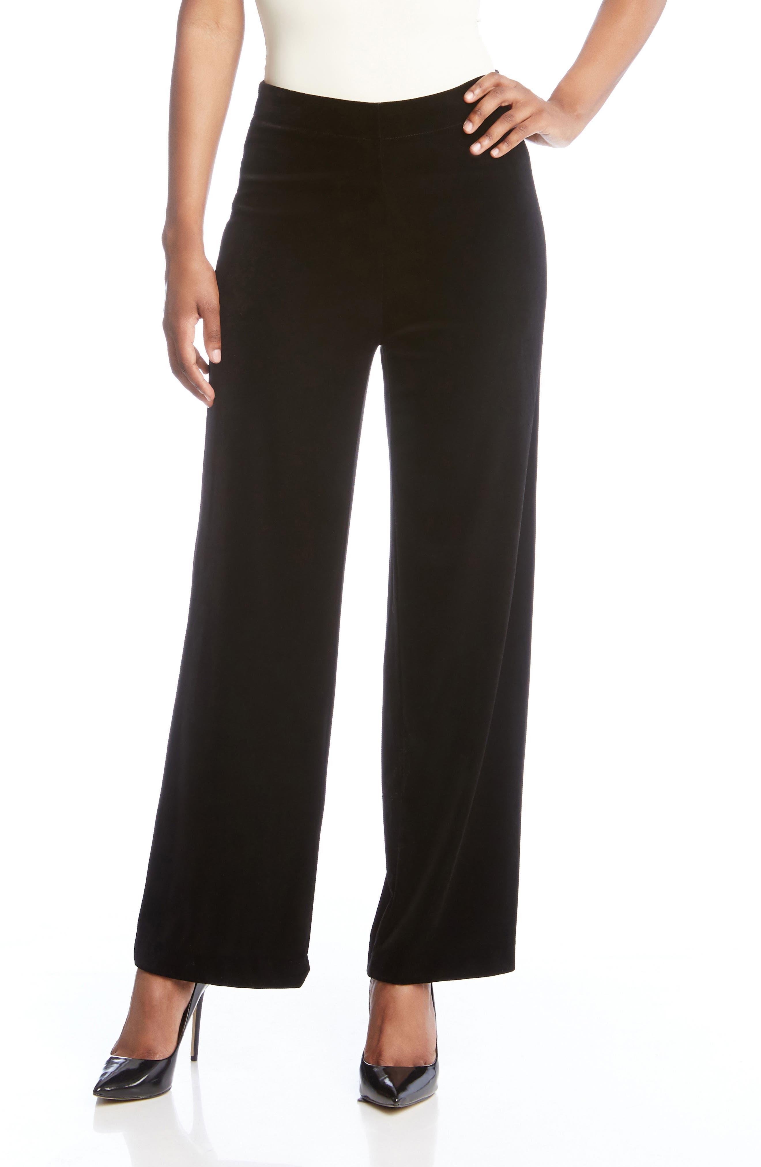 Wide Leg Velvet Pants,                             Alternate thumbnail 3, color,                             Black