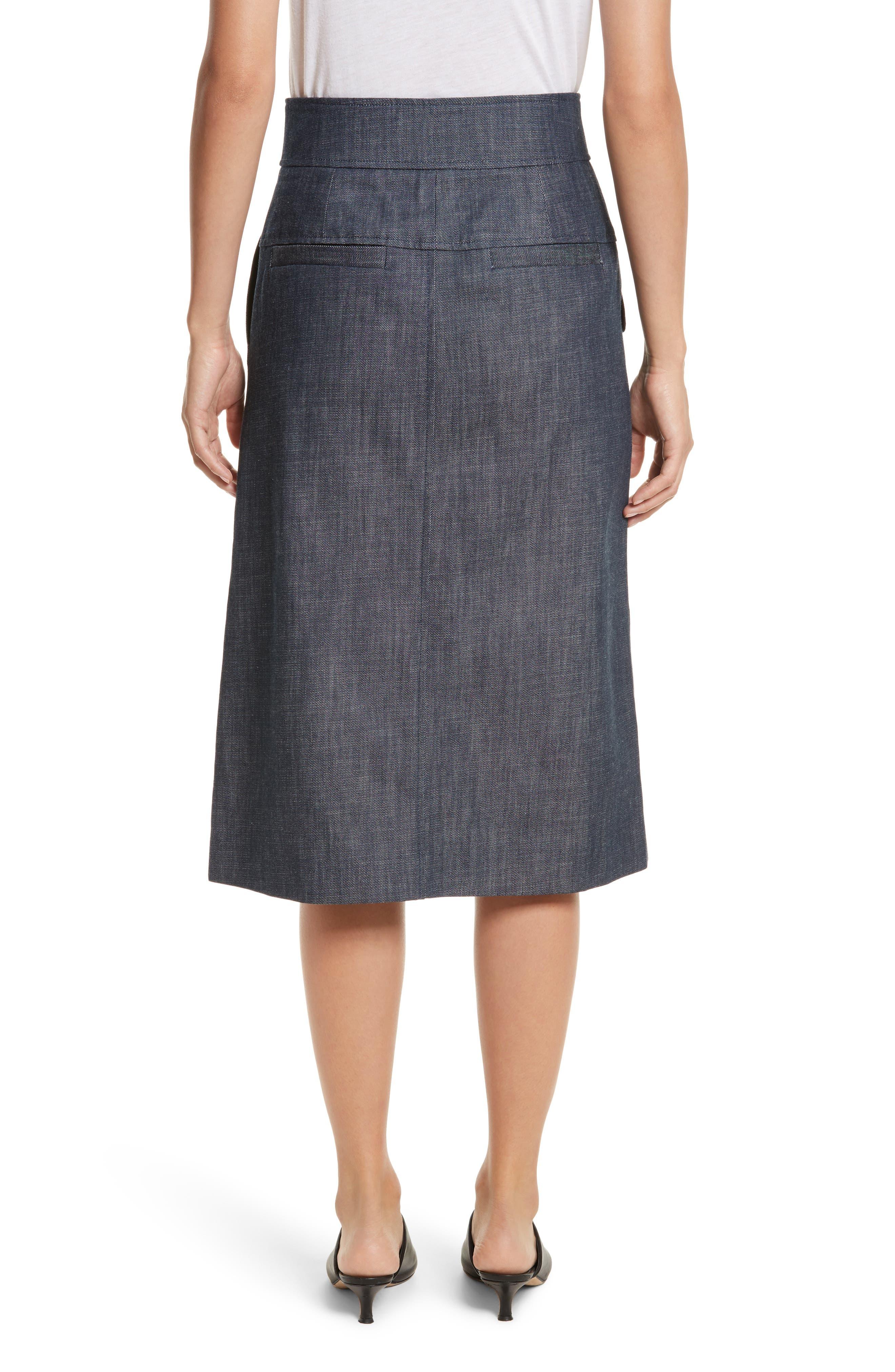Alternate Image 2  - Tibi Snap Front Raw Denim Skirt