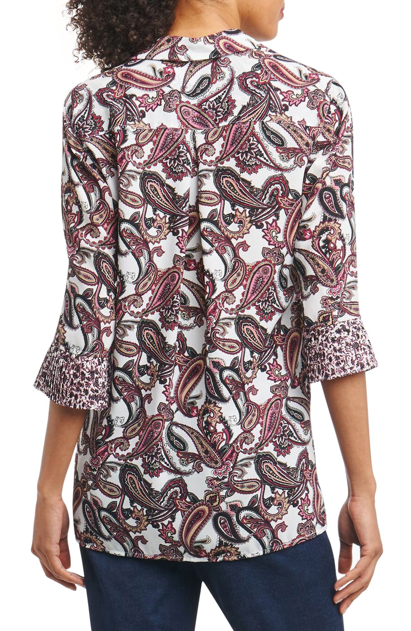 Alternate Image 2  - Foxcroft Felicity Lace-Up Tunic Top (Regular & Petite)
