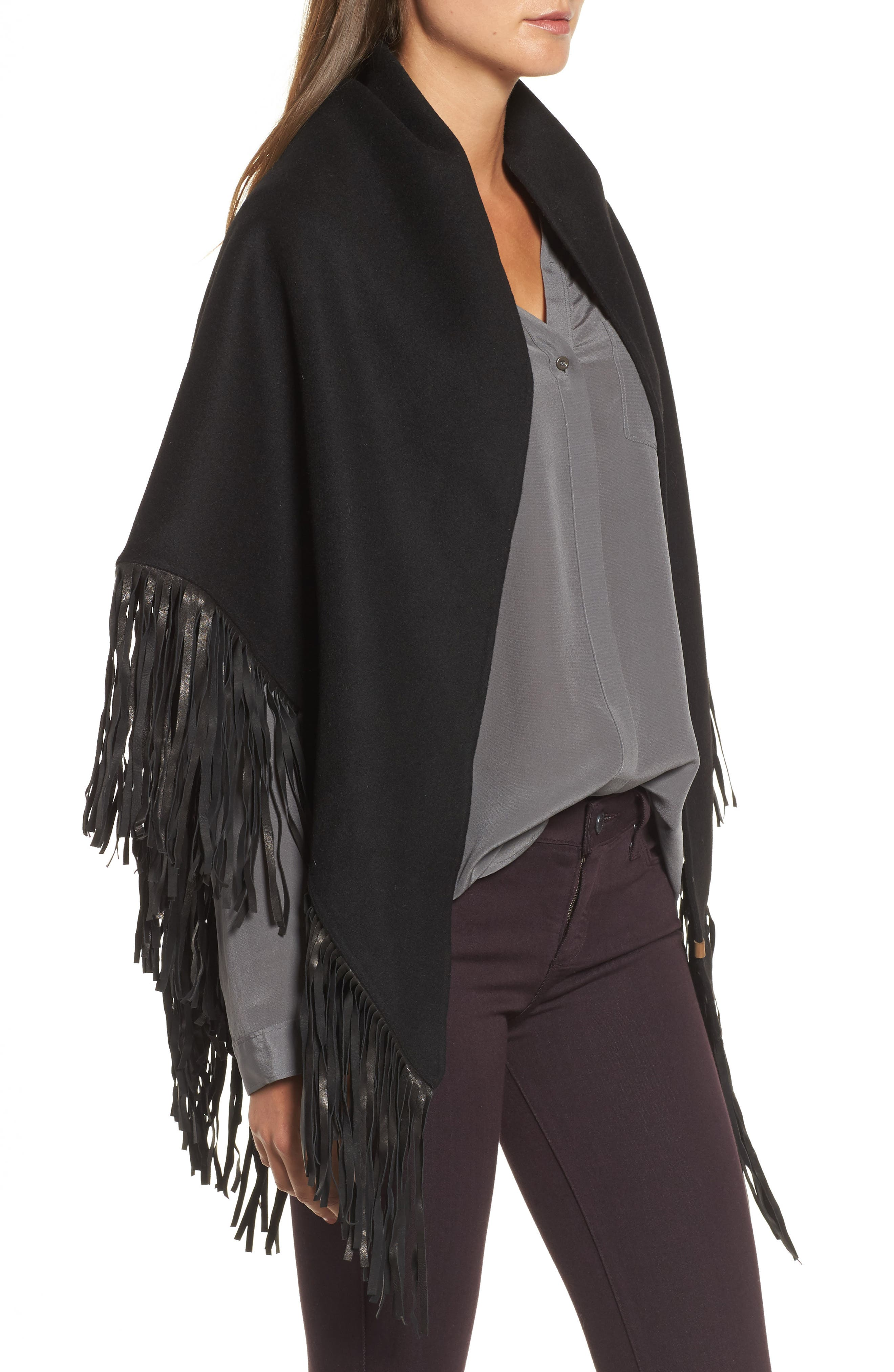 Alternate Image 3  - Mackage Fida Leather Fringe Shawl