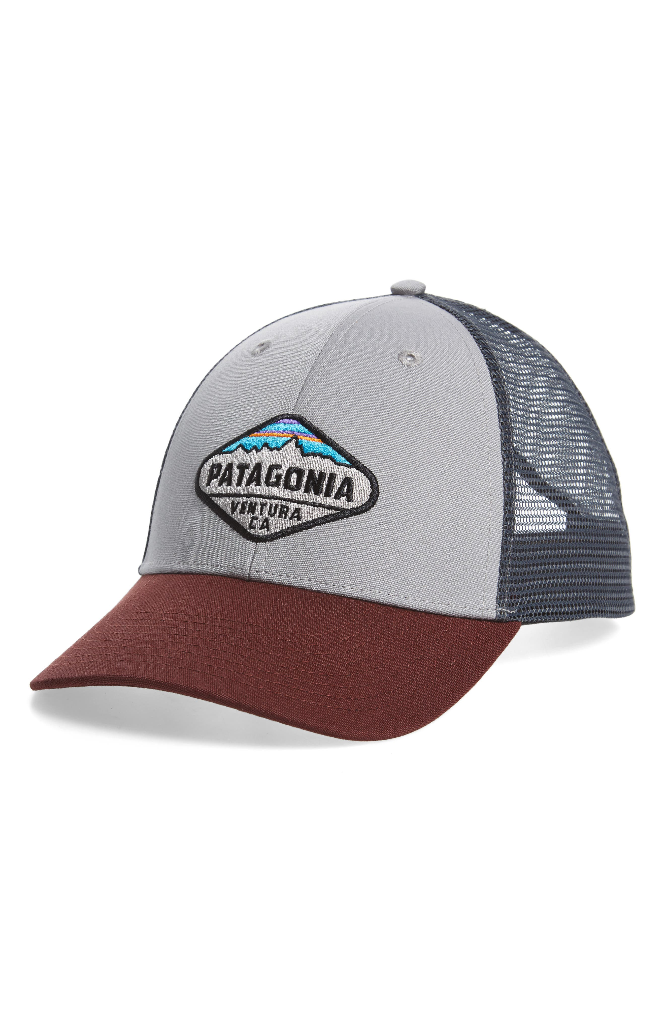 'Fitz Roy Crest' Trucker Hat,                         Main,                         color, Drifter Grey/ Dark Ruby