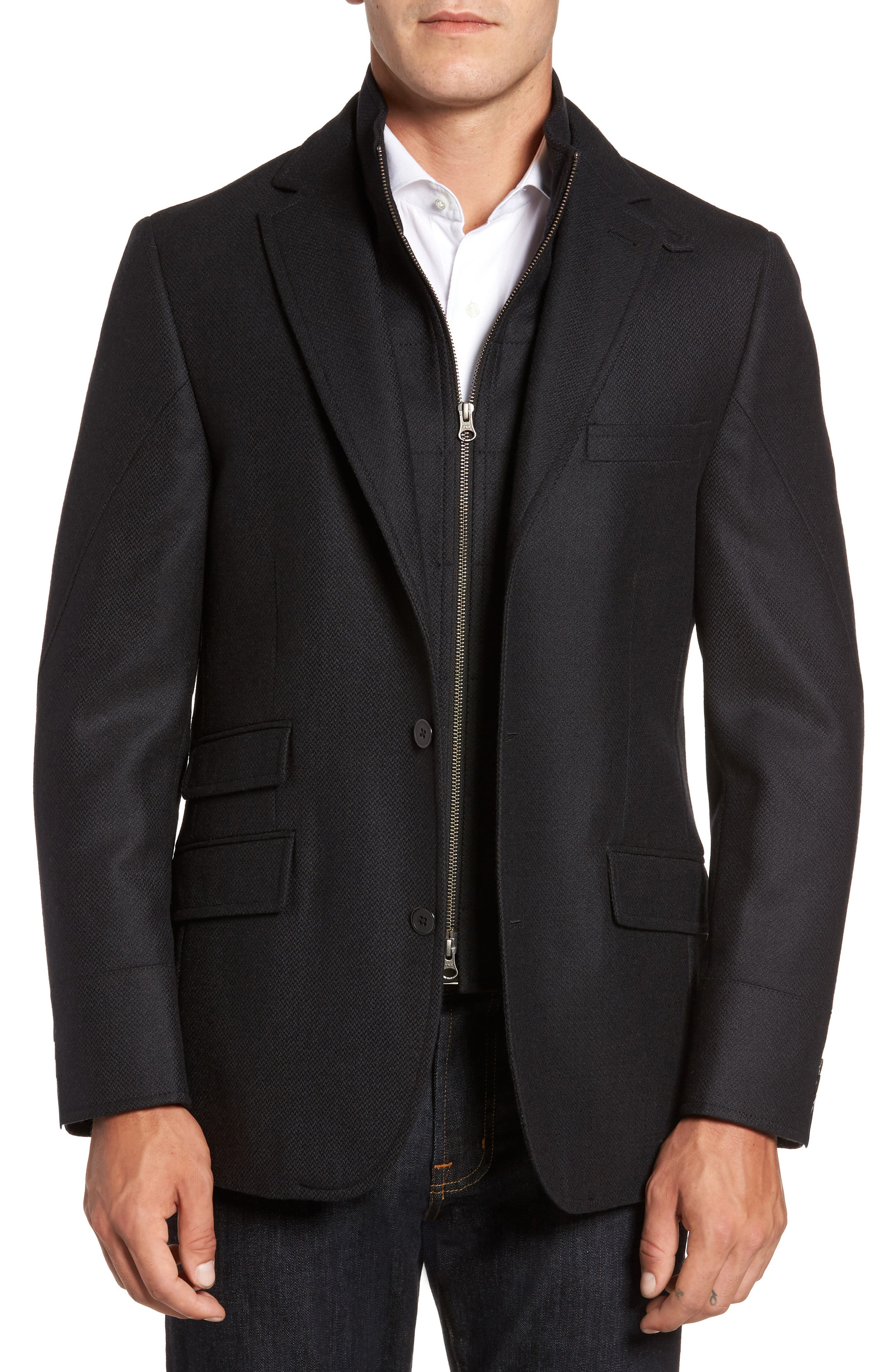 FLYNT Classic Fit Wool & Cashmere Hybrid Coat