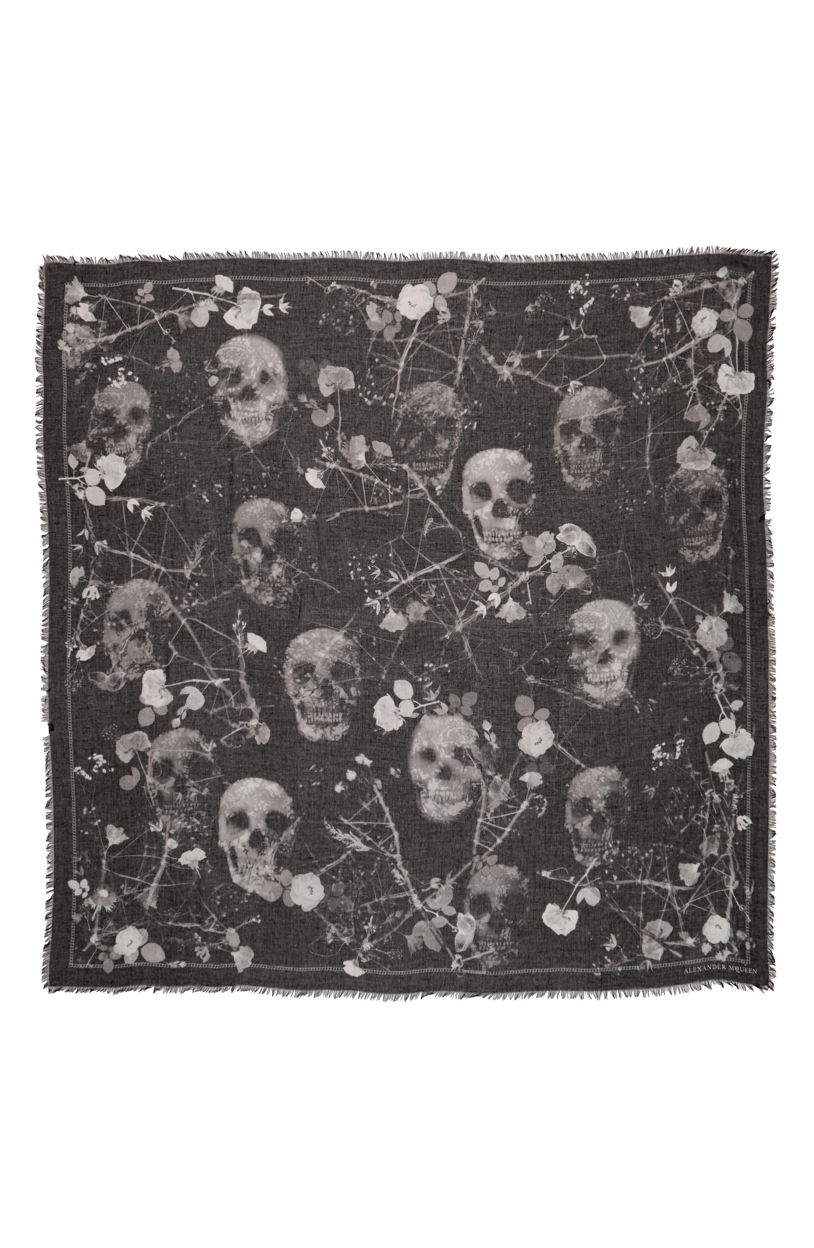 Black Magic Silk Blend Scarf,                             Main thumbnail 1, color,                             Black/ Light Grey