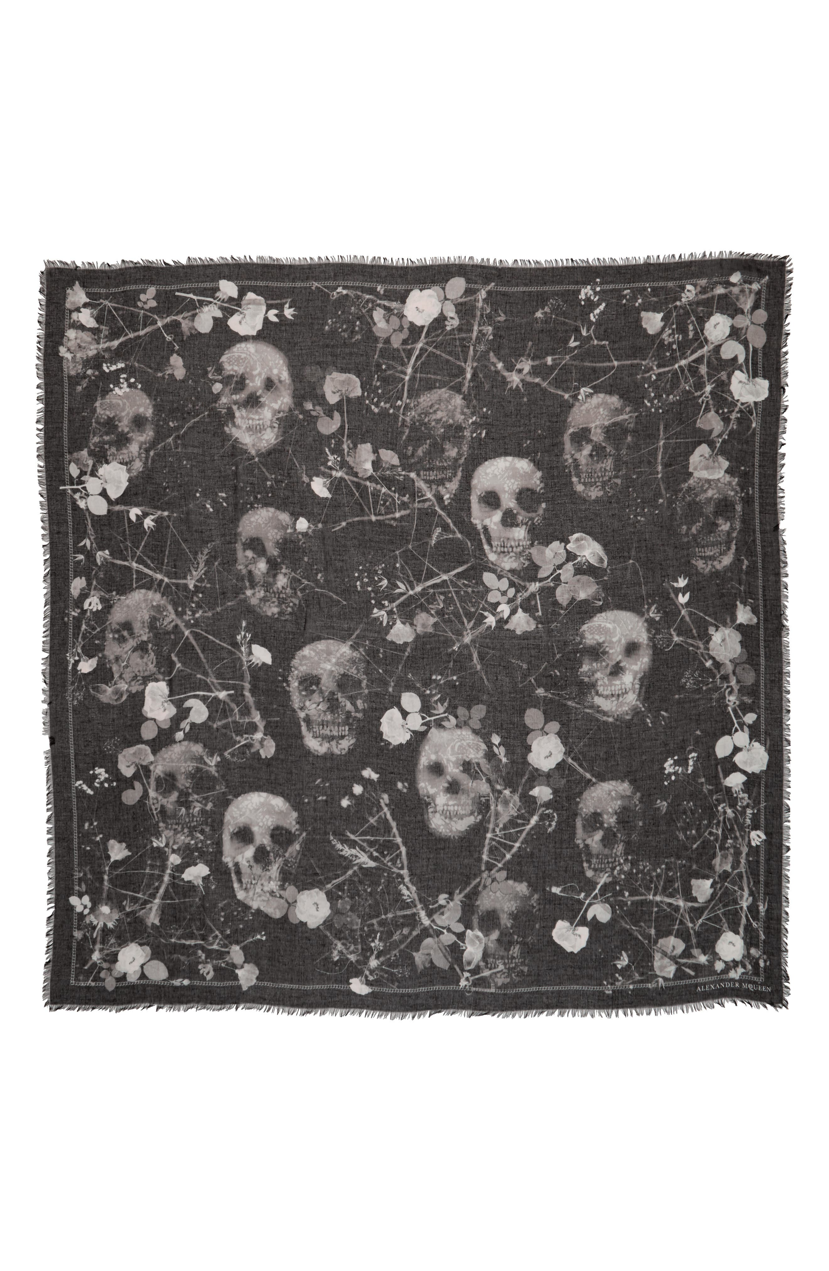 Black Magic Silk Blend Scarf,                         Main,                         color, Black/ Light Grey
