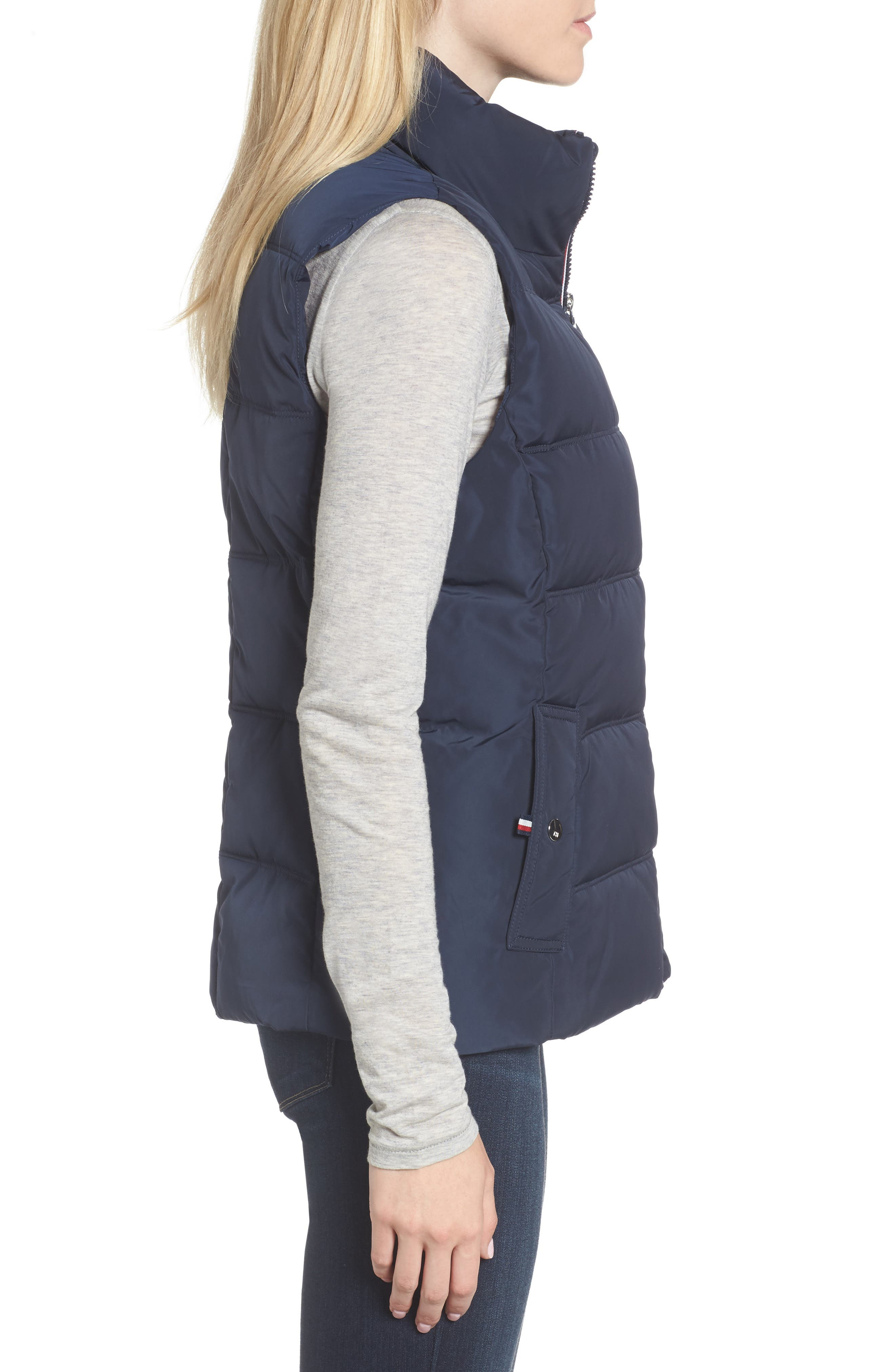 Quilted Puffer Vest,                             Alternate thumbnail 3, color,                             Navy